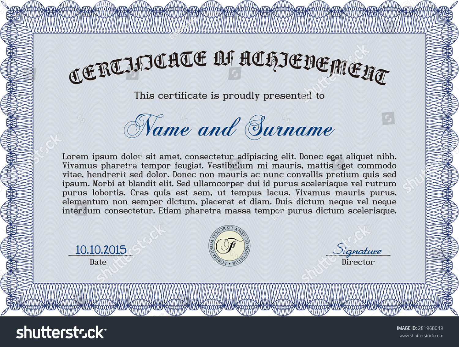 Diploma Frame Certificate Template Vector Complex Design Stock Photo ...