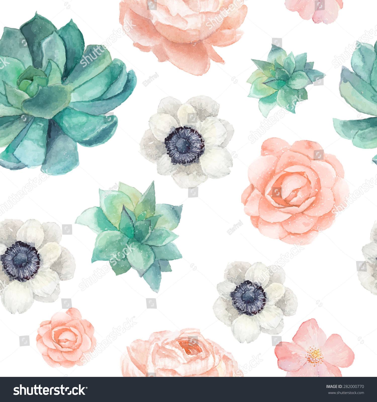 Watercolor Succulents Flowers Seamless Pattern Vintage Stock