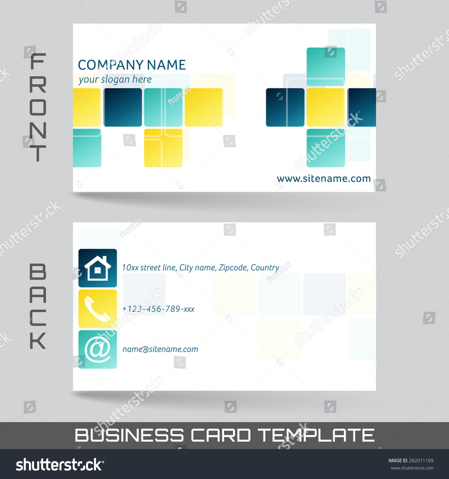 Business Card Template Visiting Card Set Stock Photo (Photo, Vector ...