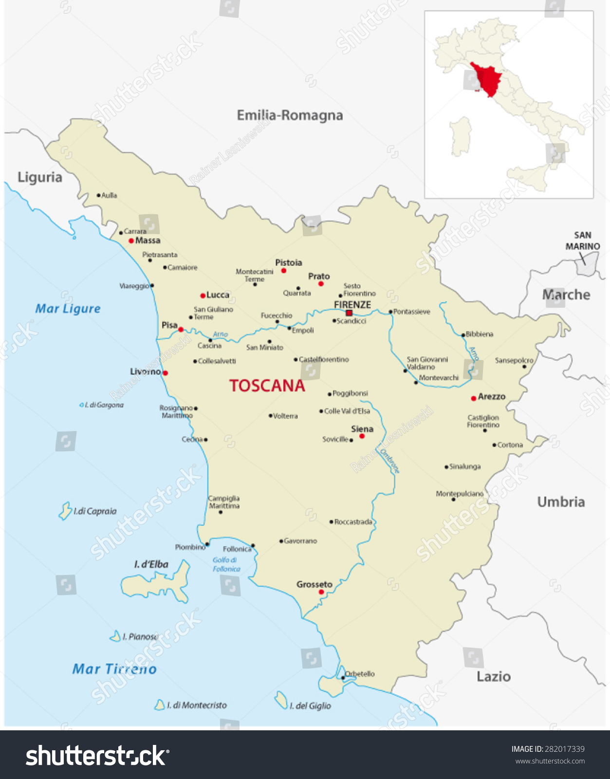 Tuscany Map Outline Map Italy Stock Vector Shutterstock - Tuscany region map