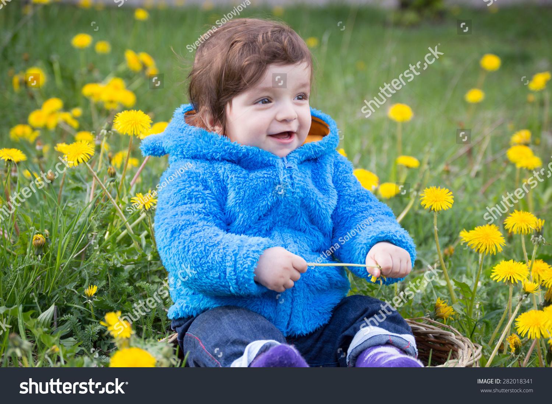 cute baby boy sit flowers field stock photo (edit now) 282018341