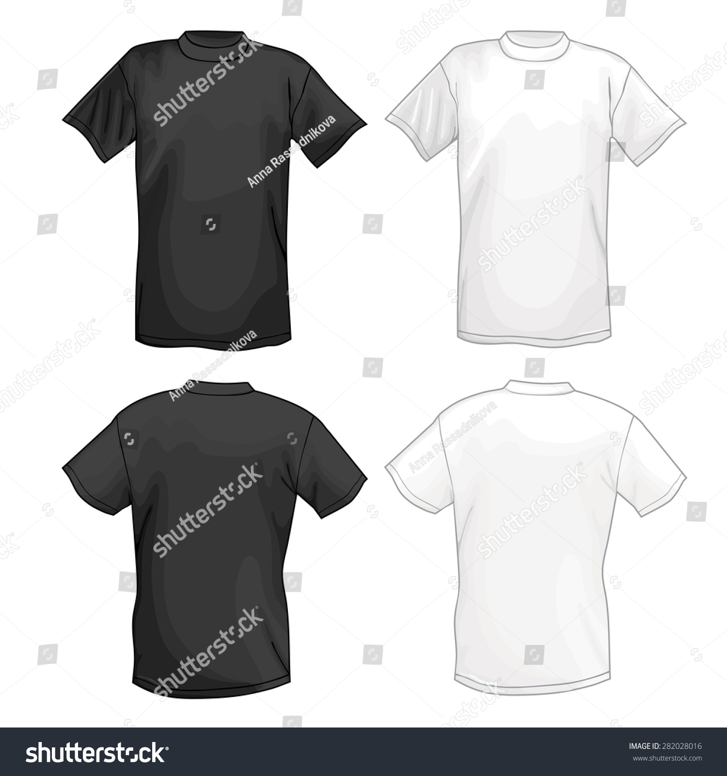 Black t shirt vector - White And Black Vector T Shirt Design Template Front Back Vector
