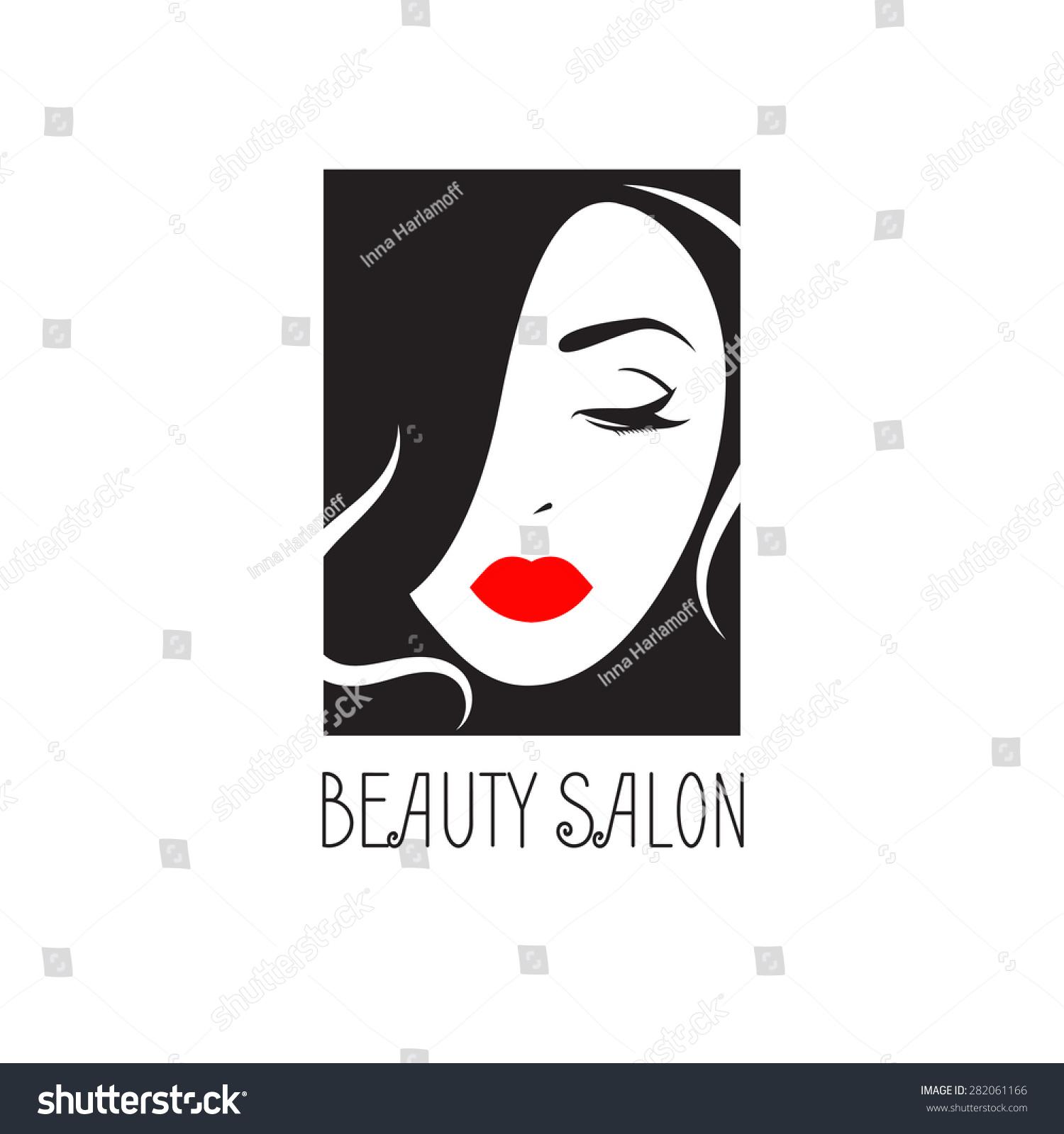 美容院的棉袜女孩。标志闭着眼睛。矢量插图。女生矩形白图片图片