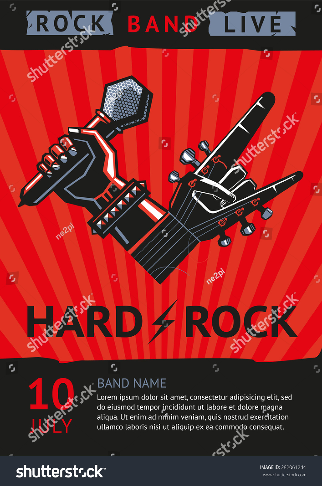 Hard Rock Design Template Rock Concert Stock Vector 282061244 ...