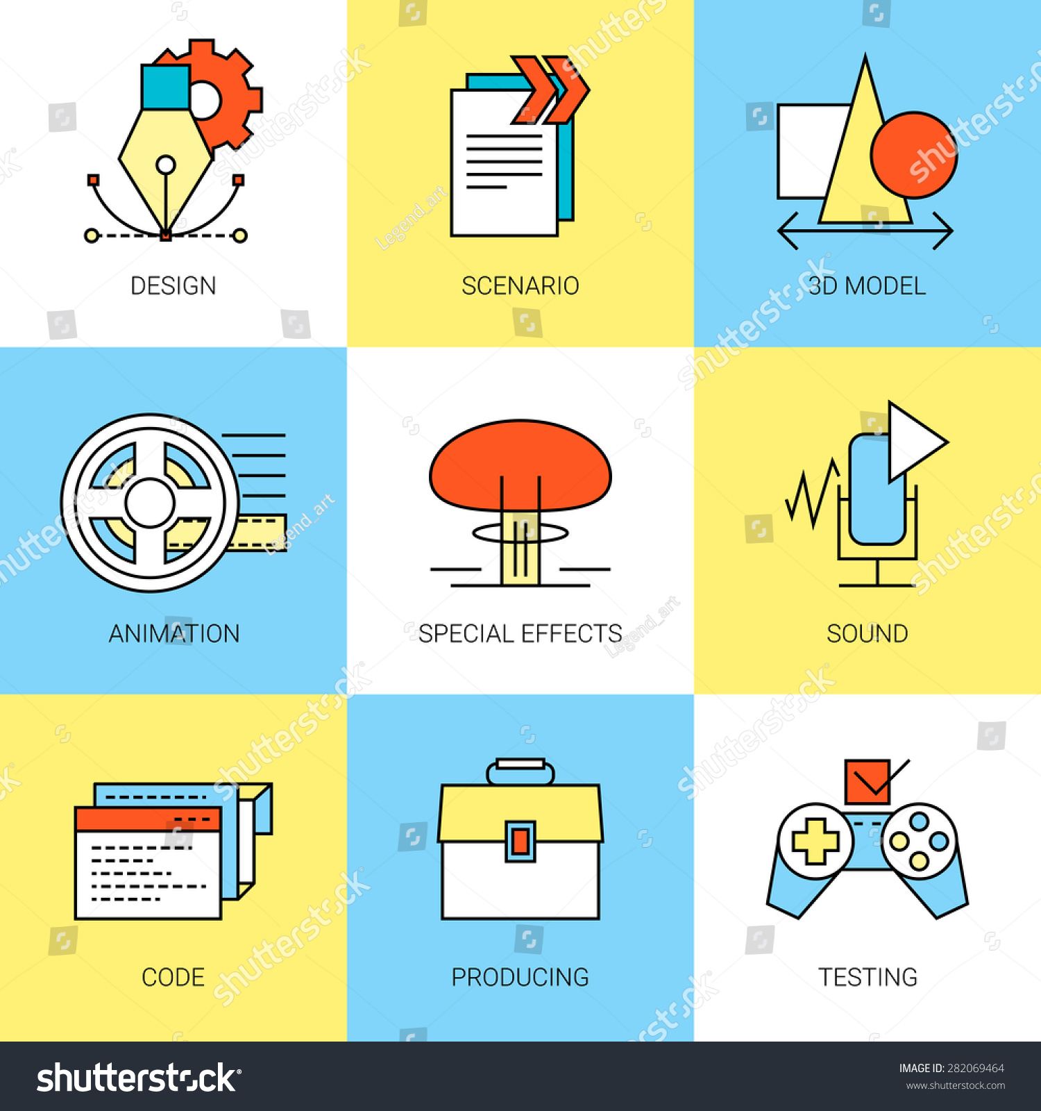 Game Development Process Main Parts Fully Stock Vector 282069464 ...