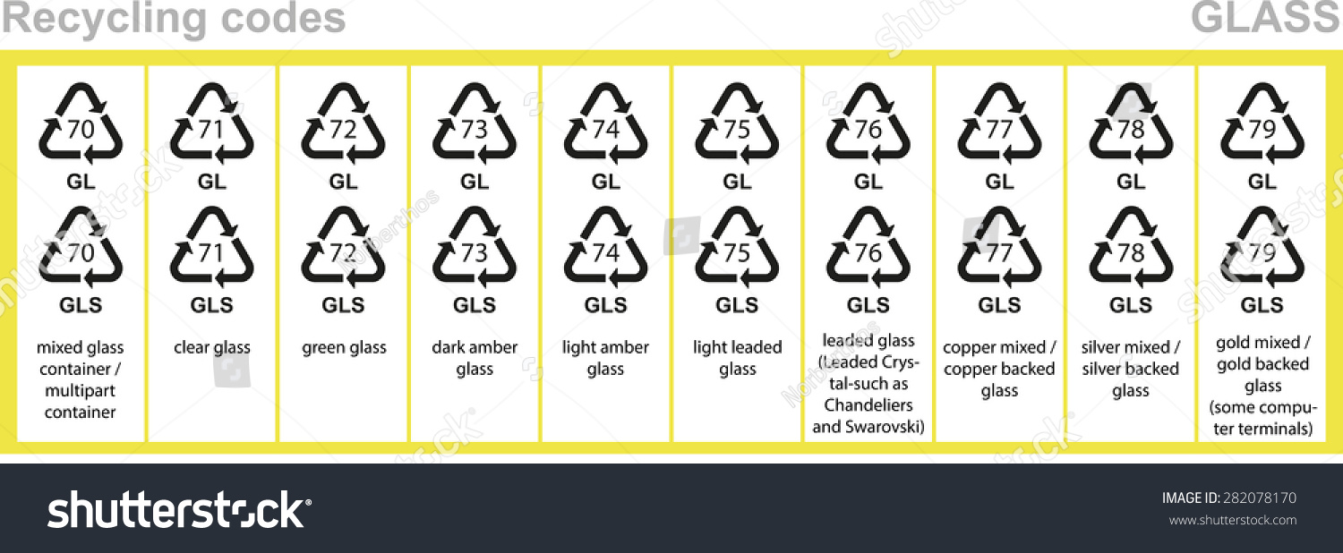Royalty Free Glass Recycling Codes All Glass 282078170 Stock