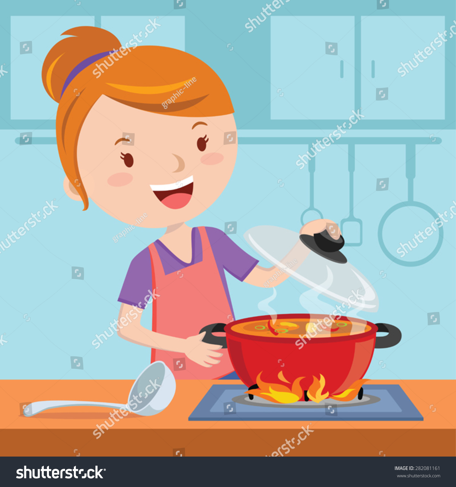 Kitchen utensil clip art - Mother Cooking Vector Illustration Of A Woman Cooking In