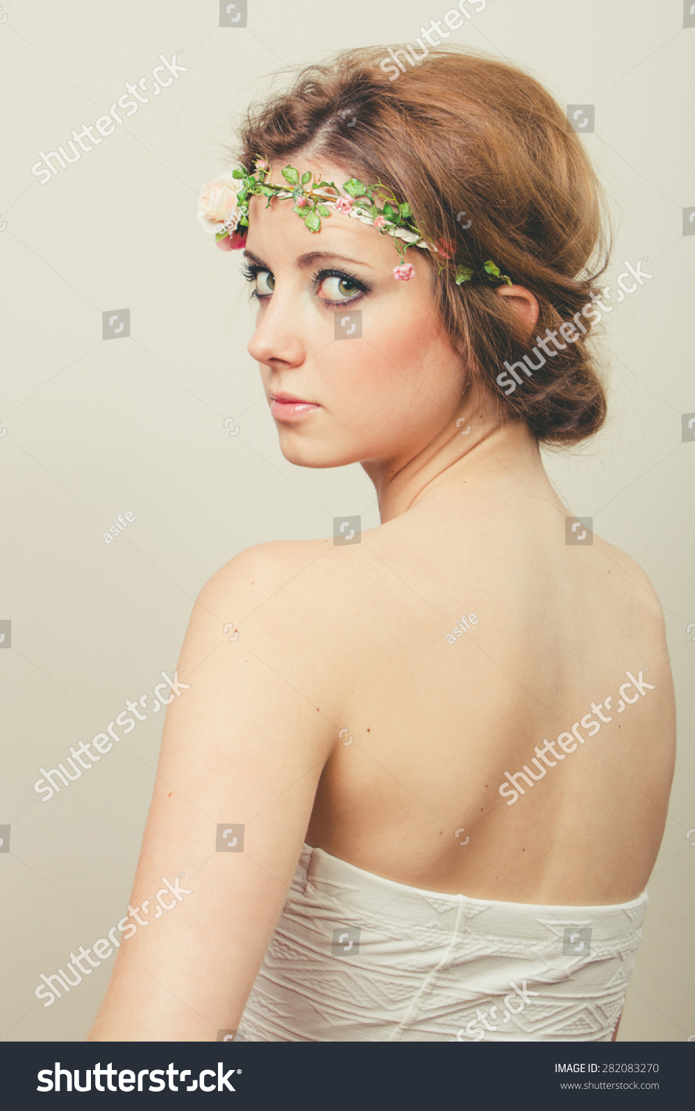 Beautiful Blond Woman Hair Tied Back Stock Photo Edit Now