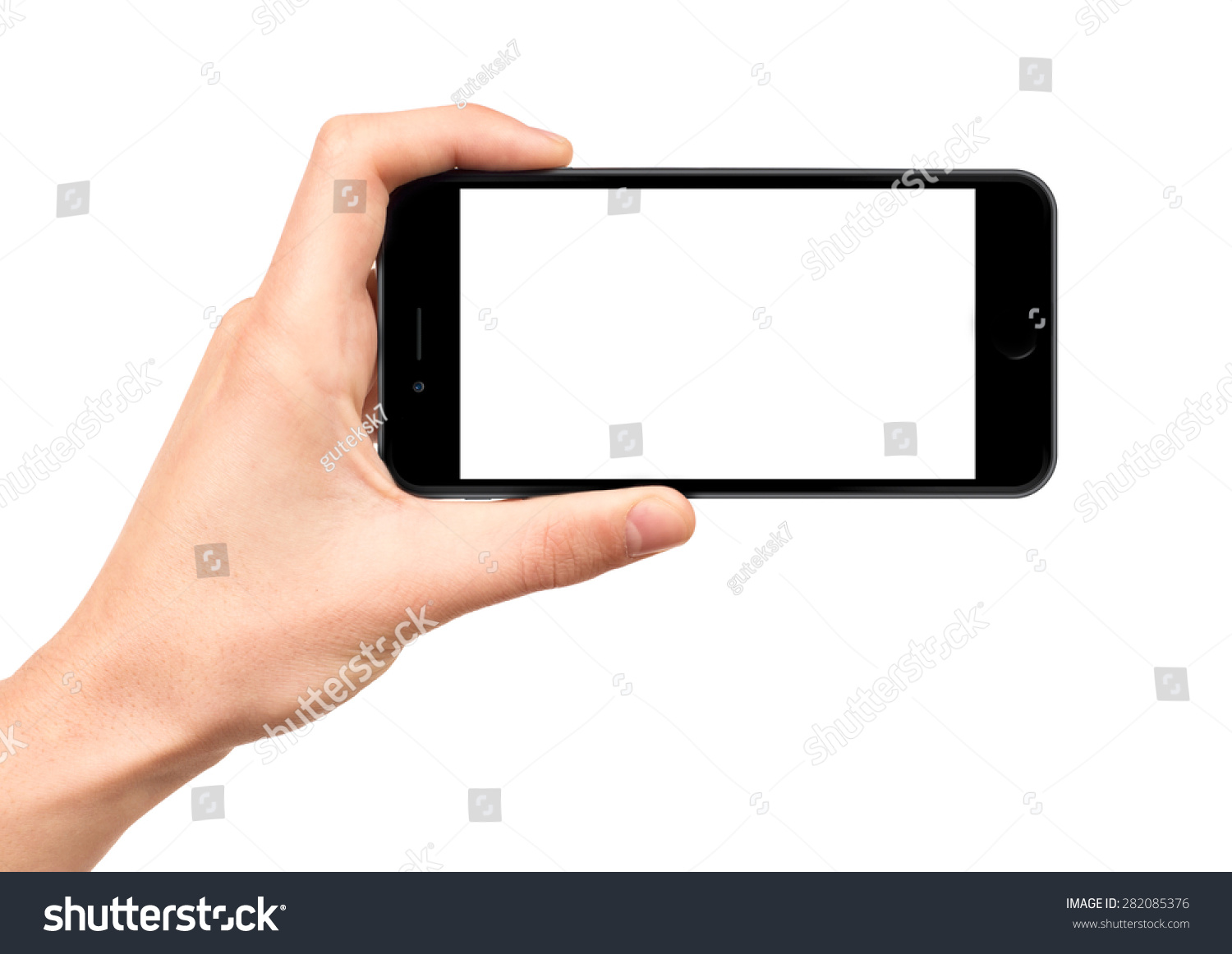 Man hand holding horizontal the black smartphone with blank screen, isolated on white background. #282085376