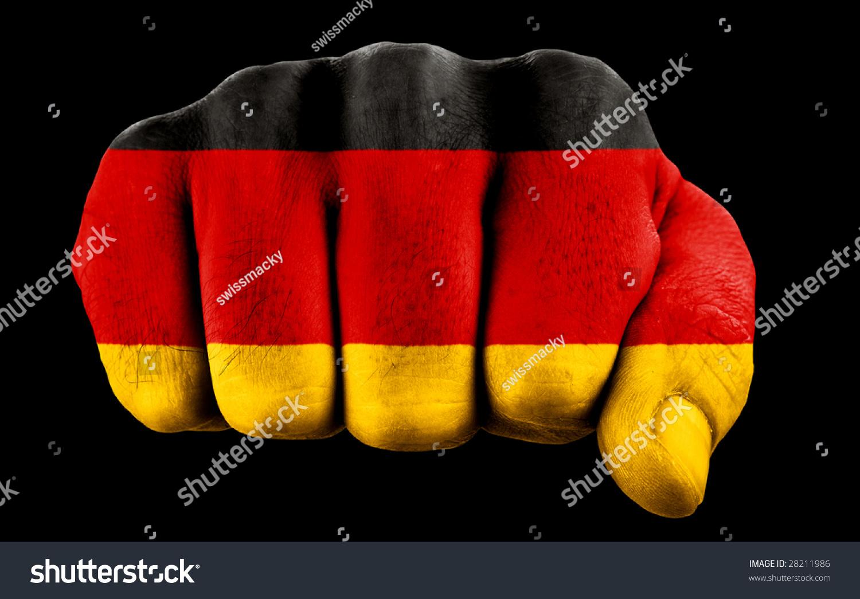 Fist German Flag Isolated On Black Stock Photo 28211986