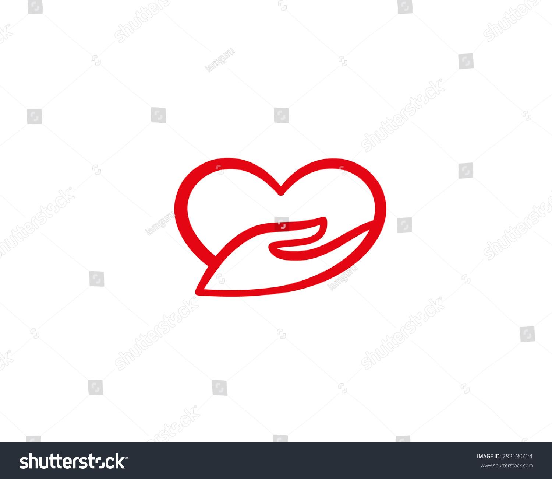 heart hand symbol charity love logo stock illustration