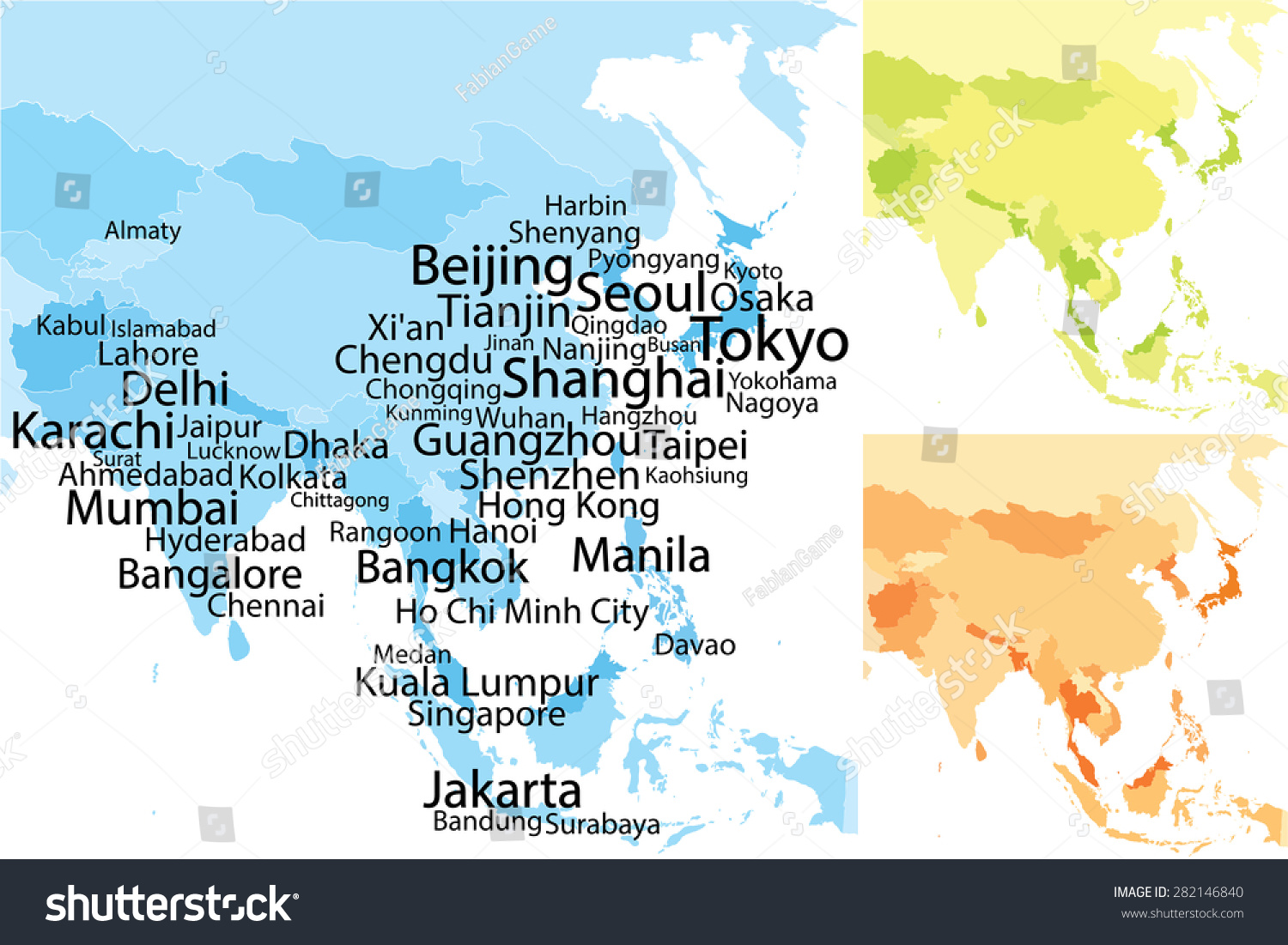 Map Of Asia Jakarta.Map Asia Largest Cities Carefully Scaled Stock Vector Royalty Free