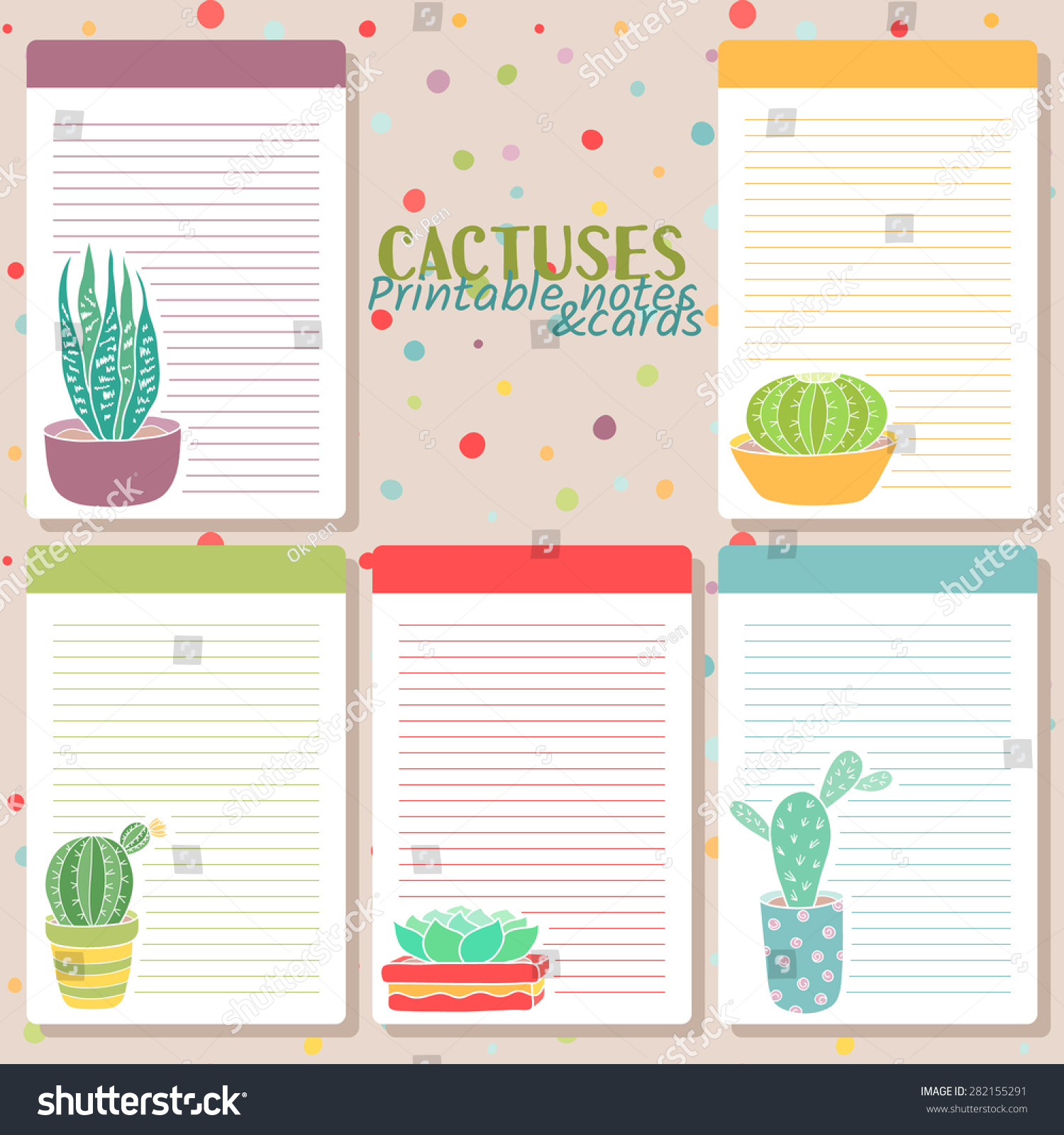 Printable Note Cards Vector Set Five Cute Templates Cactuses Stock Vector 282155291