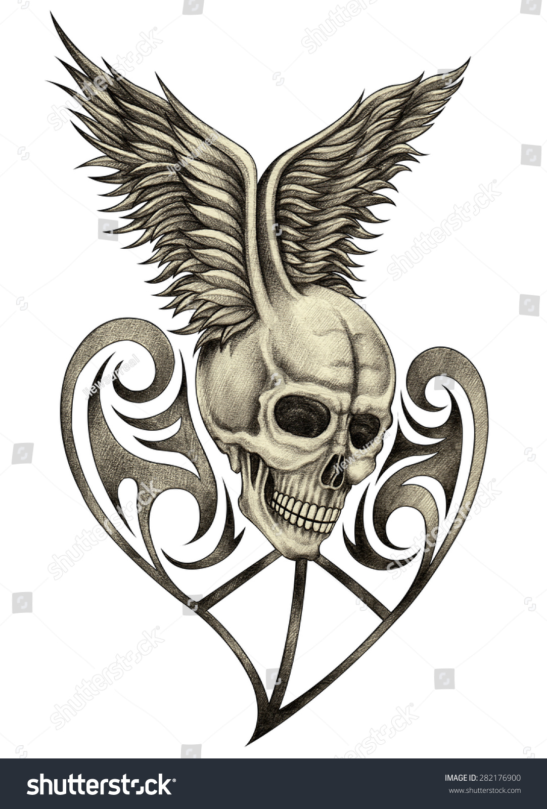 Cool Skull Drawings With Wings