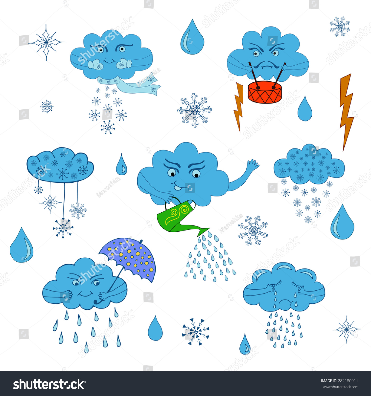 Weather Symbols Set Cartoon Clouds Rain Stock Vector Royalty Free