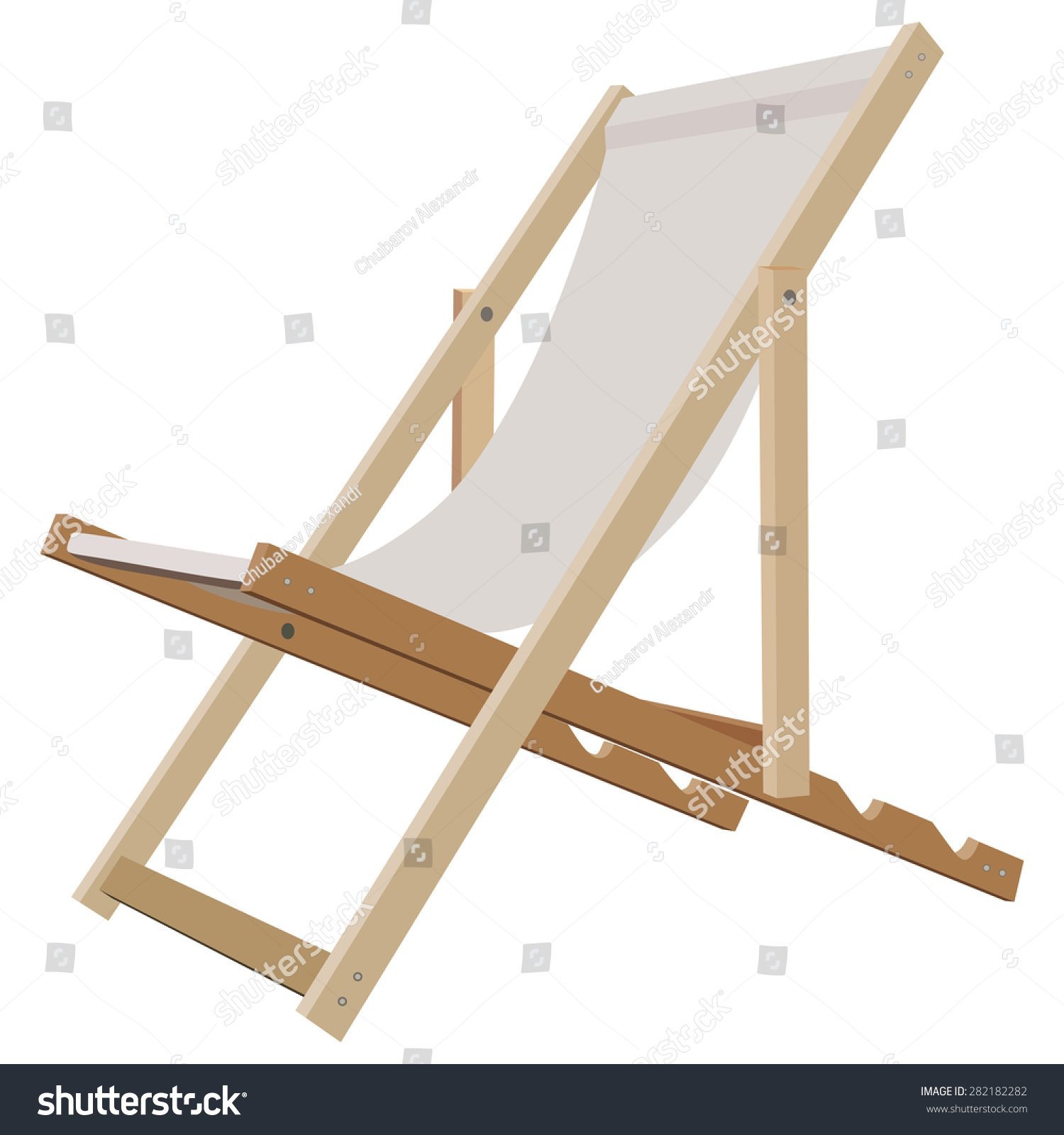 Wooden Beach Lounge Chair White Stock Illustration