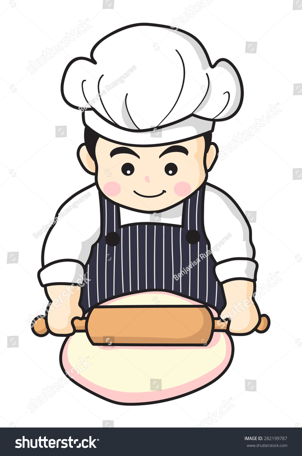 Cartoon Character Design Vector : Happy baker making fresh bakery cartoon stock vector