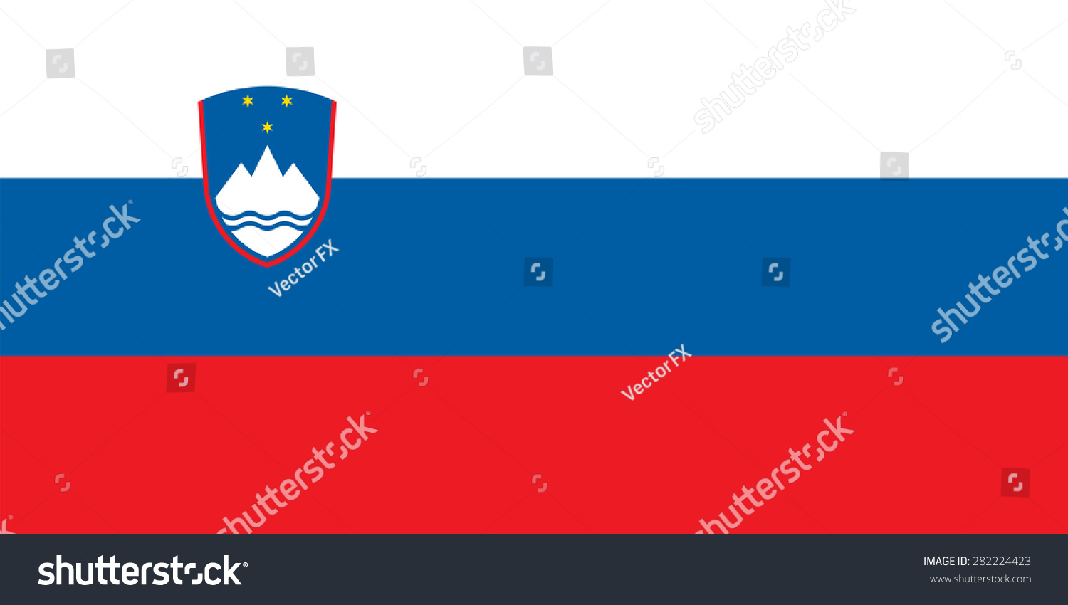 Flag Slovenia Government Specification Right Size Stock Vector ...