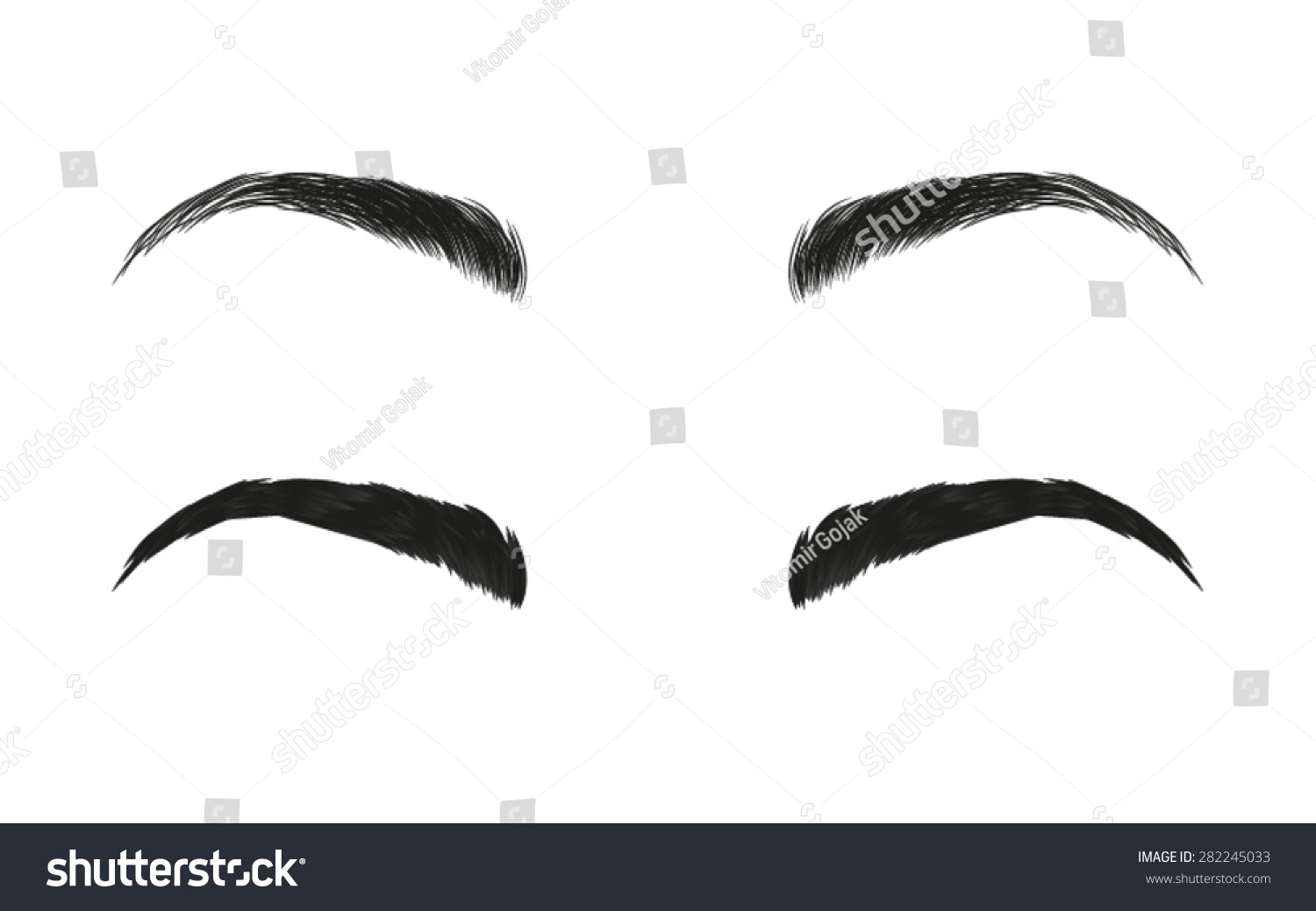 Vector Eyebrows Realistic Cartoon Style Stock Vector Royalty Free