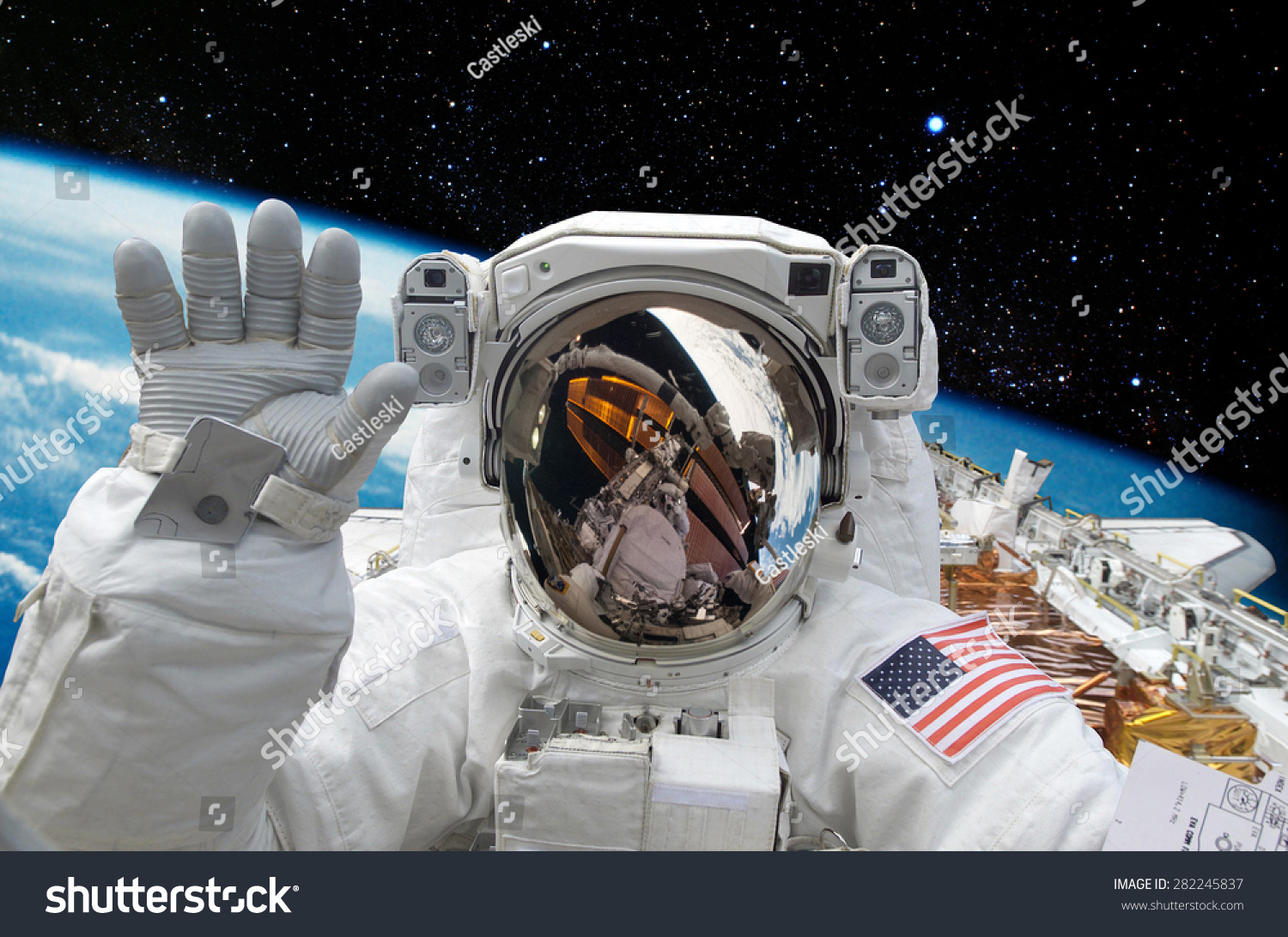 Astronaut On Space Mission Earth On Stock Photo 282245837