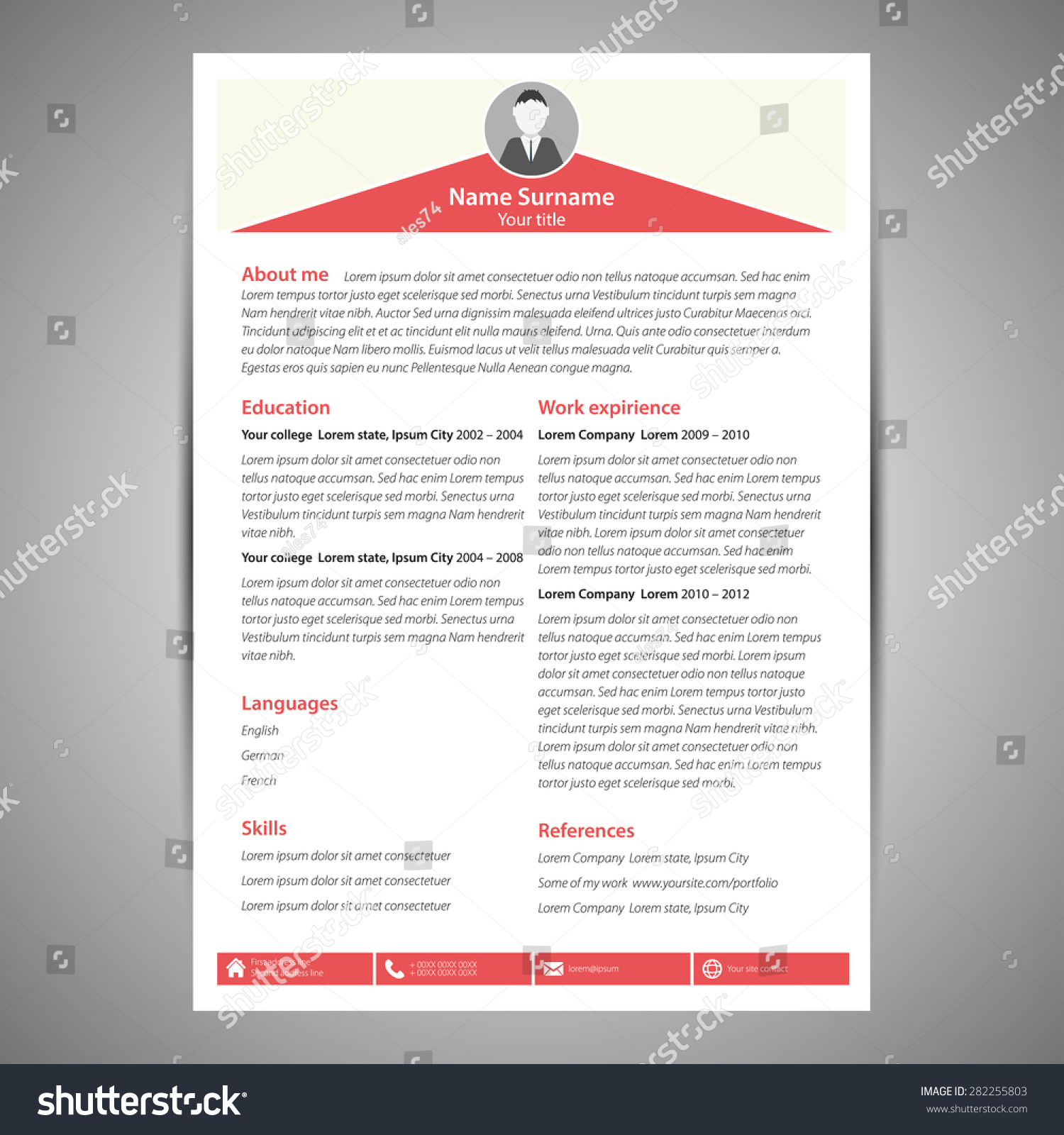 red green flat resume cv template stock vector 282255803