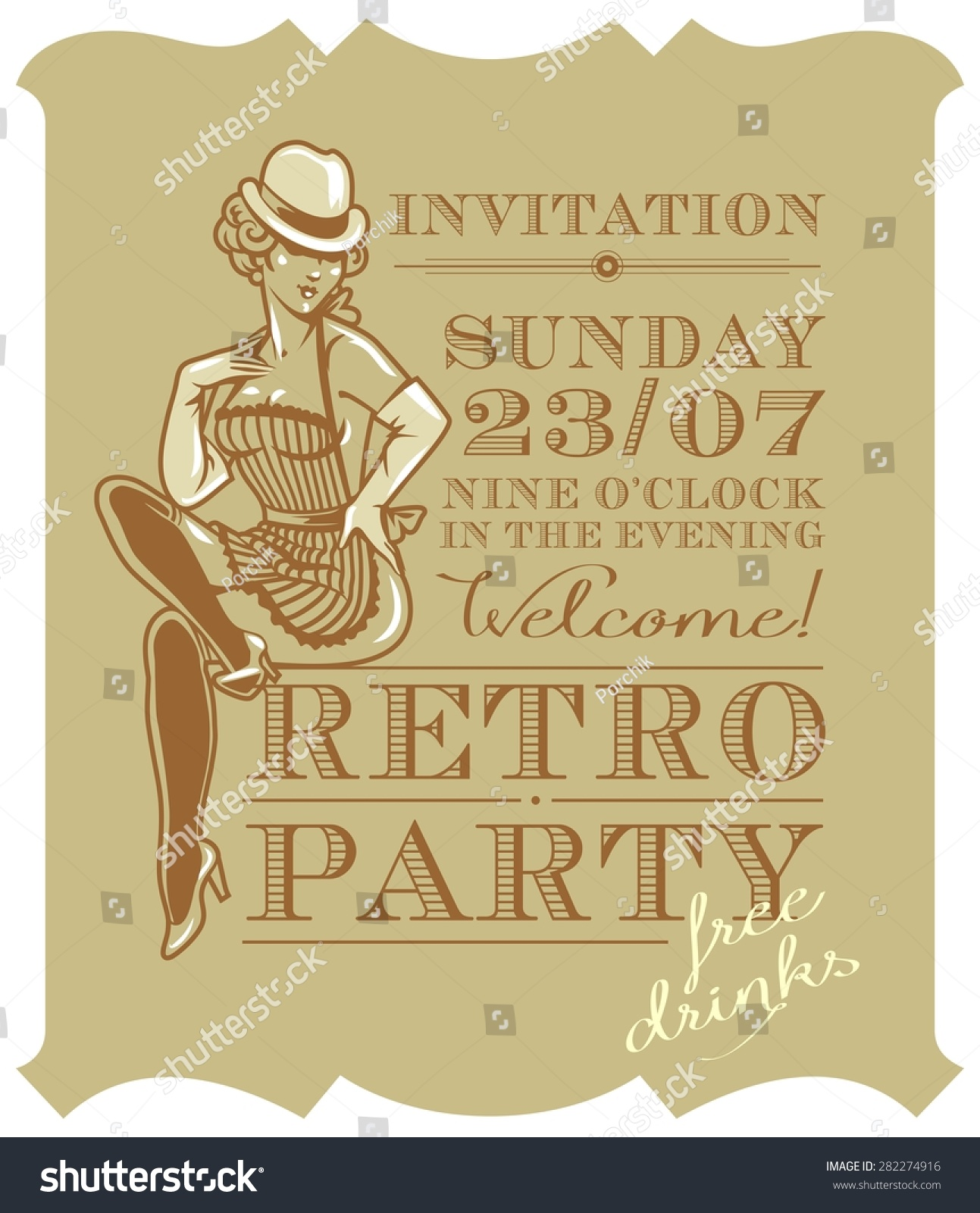 Retro Party Invitation Design Vintage Woman Stock Vector 282274916 ...