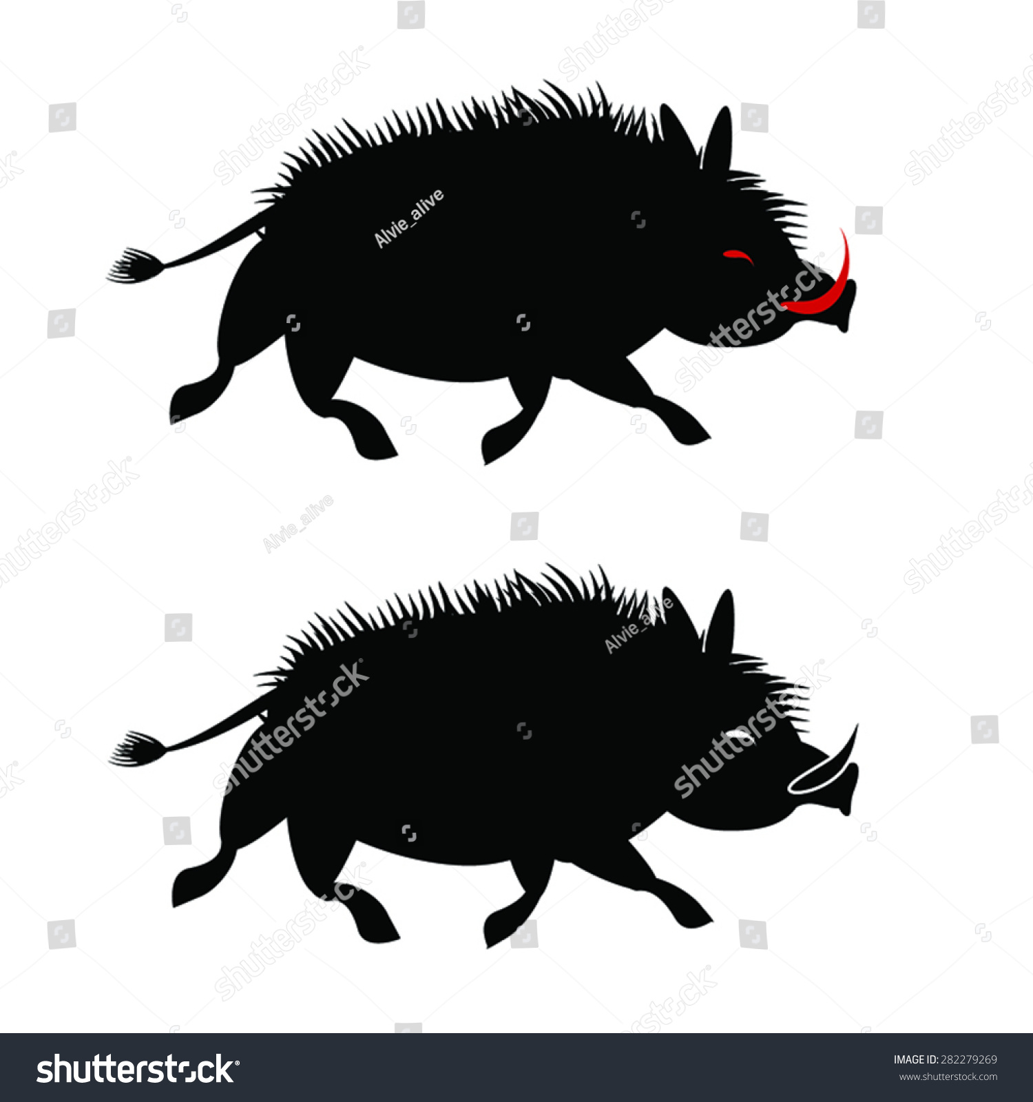Wild Boar Black Silhouette Isolated On Stock Vector 282279269 ...