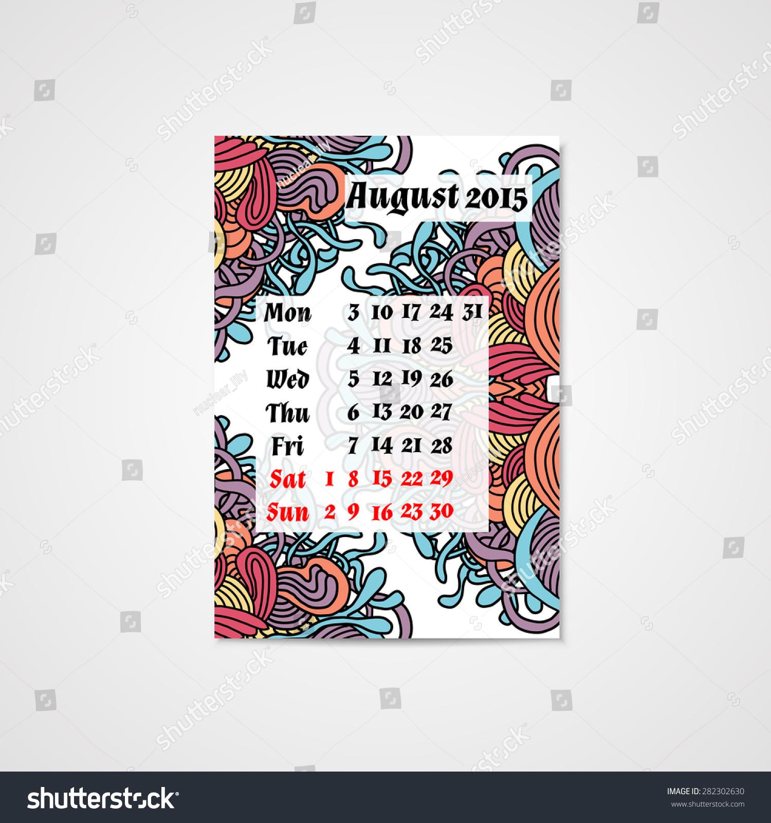Calendar Design Pattern : Calendar design doodle abstract pattern hand stock vector