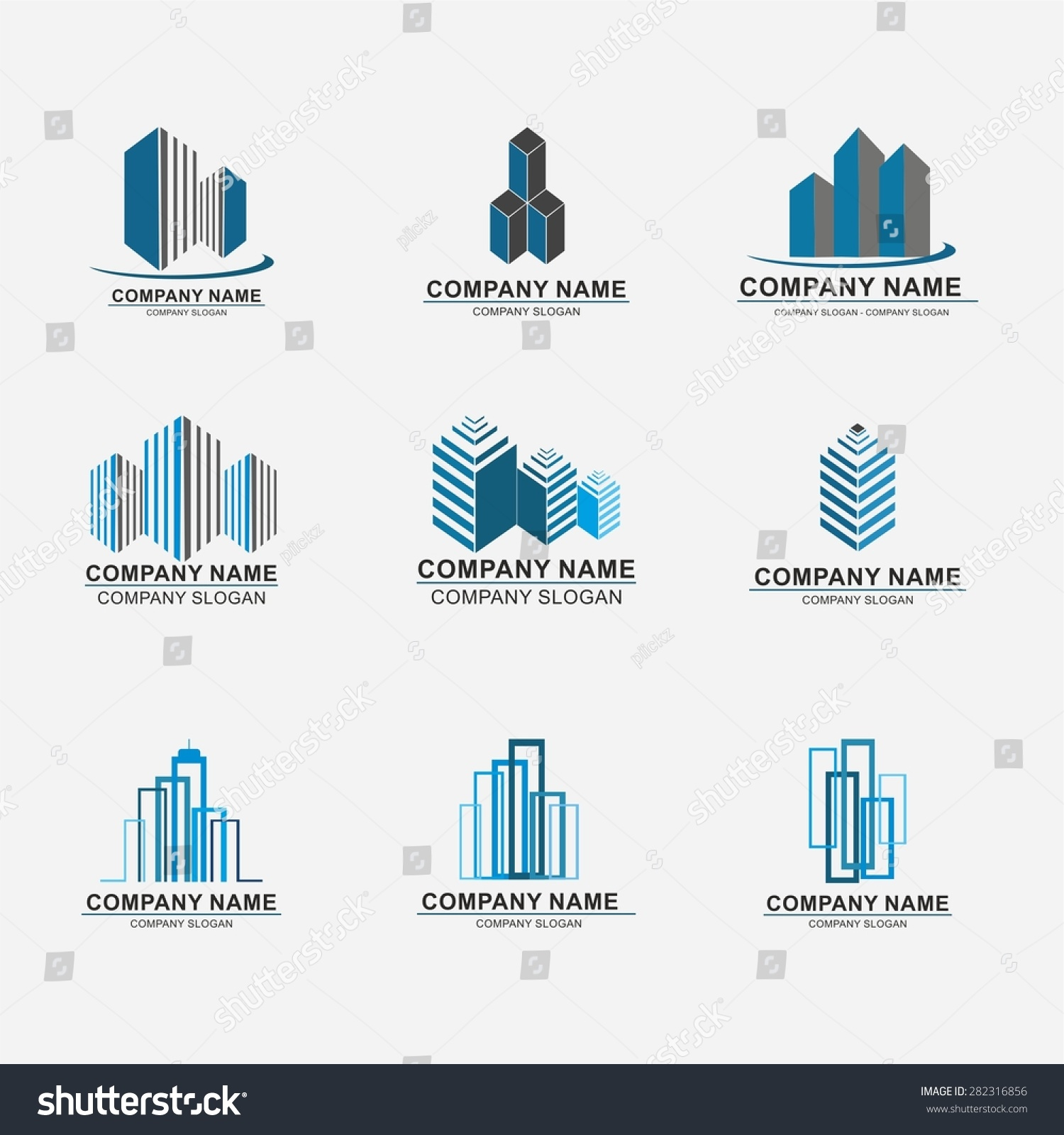 Set Building Logo Design Real Estate Stock Vector