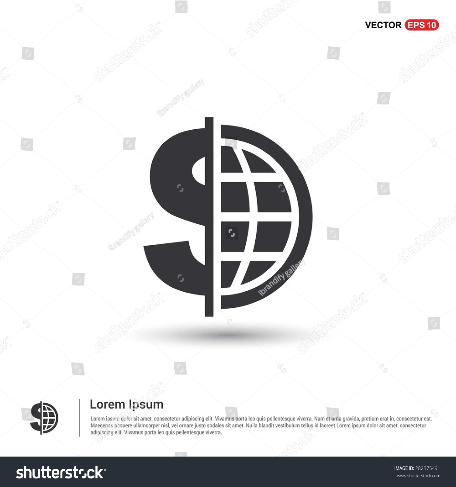 Dollar currency symbol world globe icon stock vector 282375491 dollar currency symbol with world globe icon abstract logo type icon isometric white background biocorpaavc Choice Image