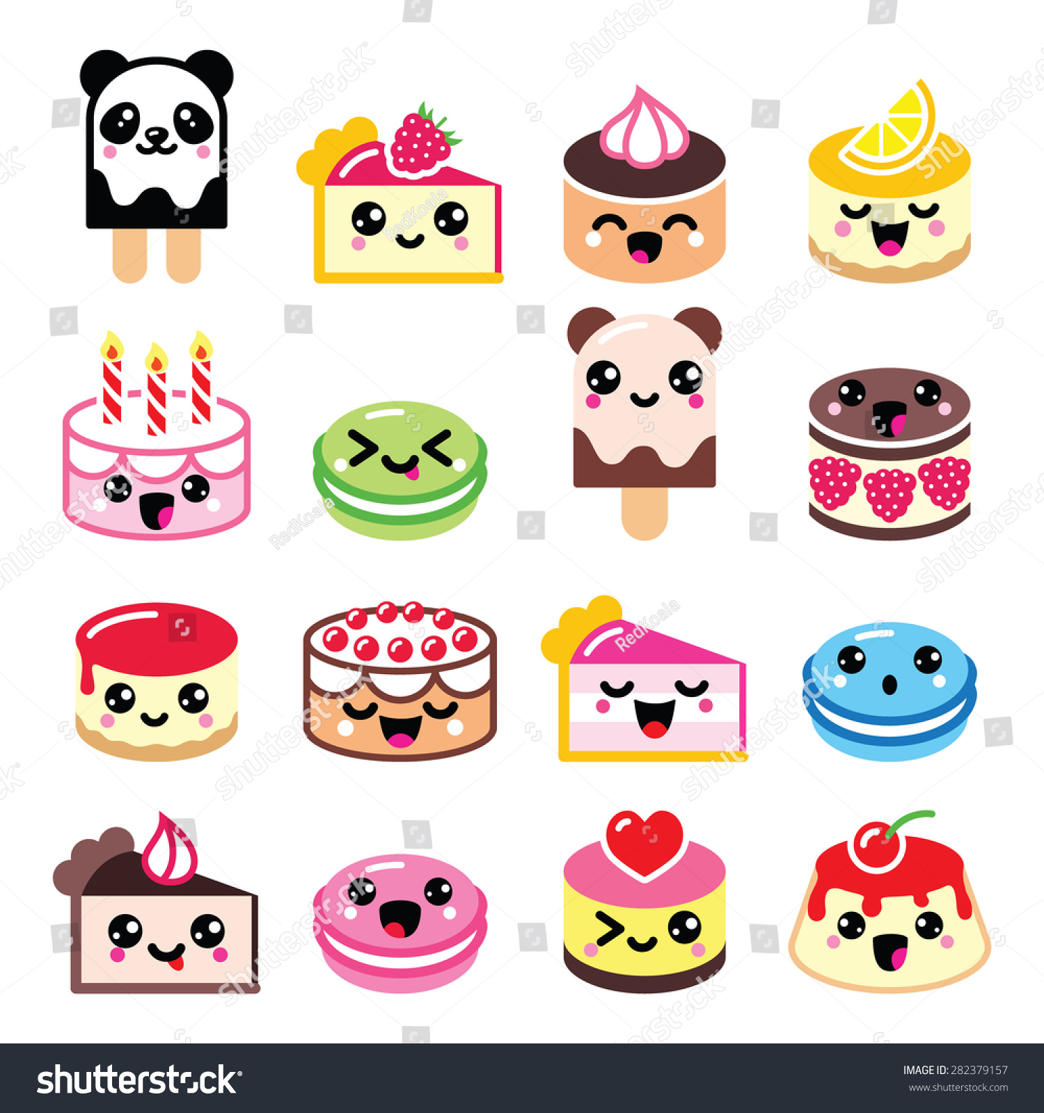 Royalty-free Cute Kawaii dessert - cake, macaroon ...