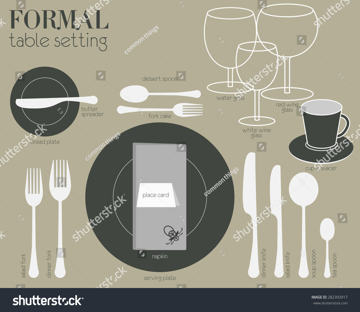 Formal dining table setting formal dining table setting for Table design vector