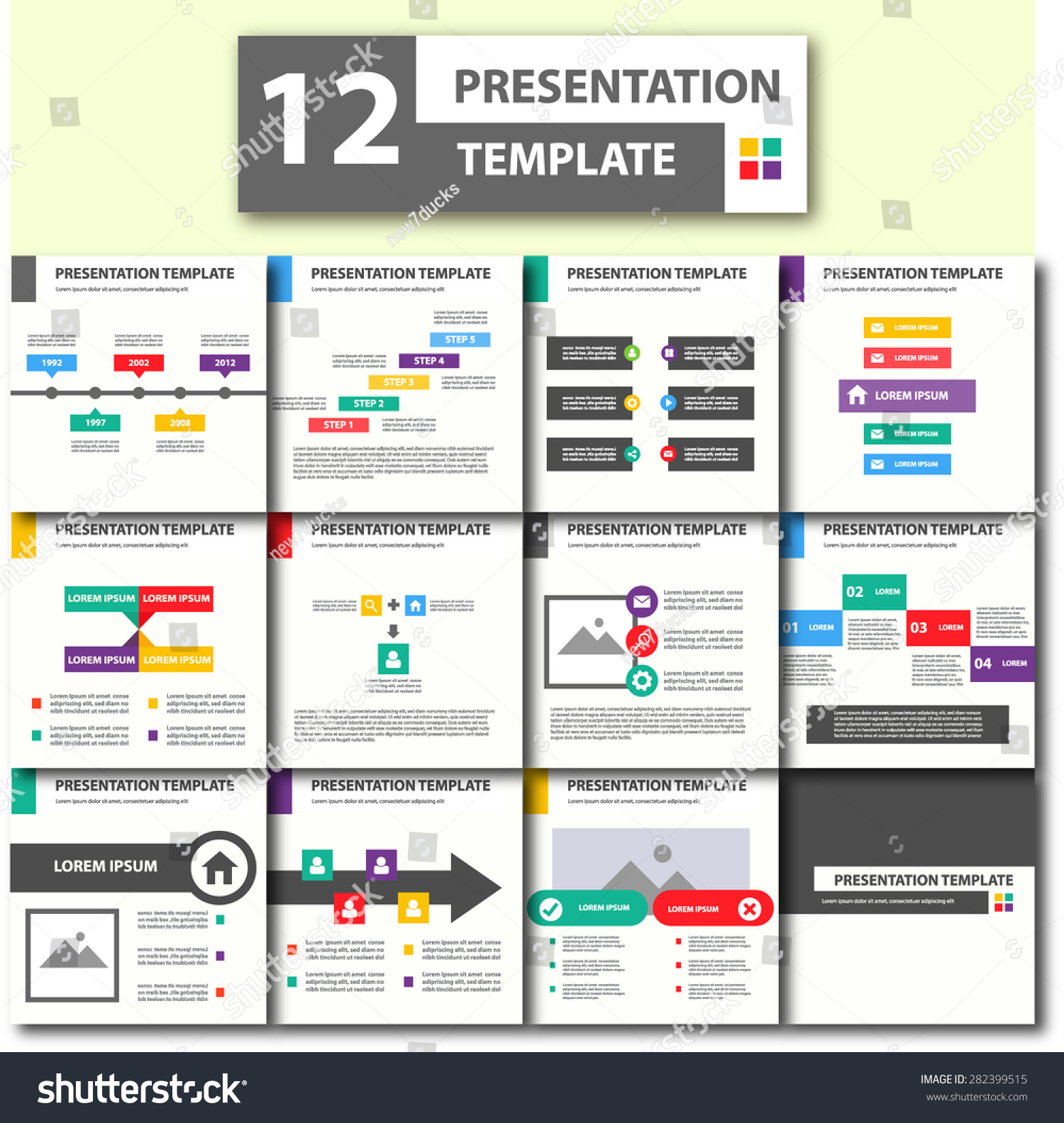 Colorful Presentation Template Brochure Flyer Design Set Black and more color