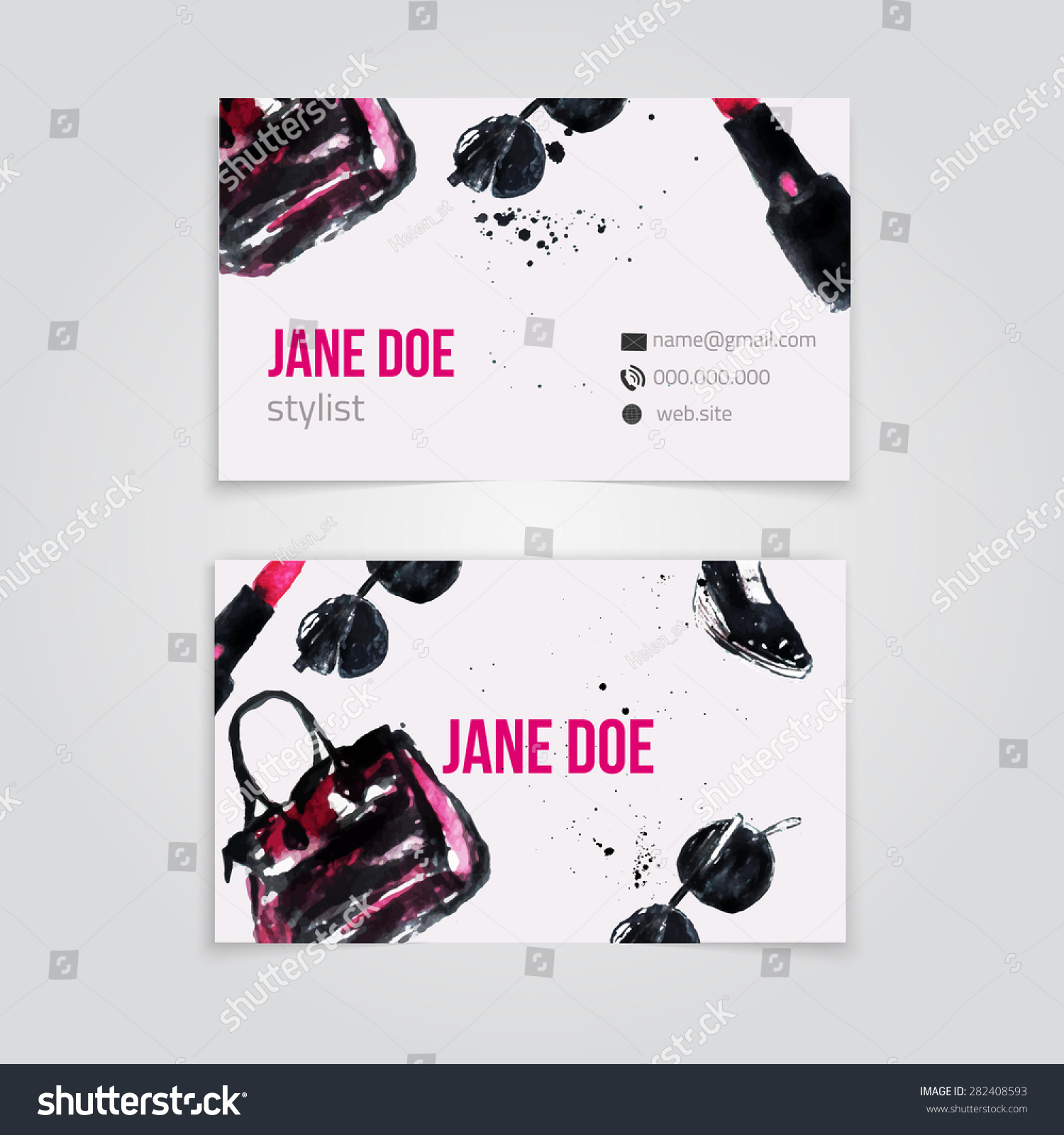 Watercolor Fashion Glamour Business Card Stylist Stock Vector