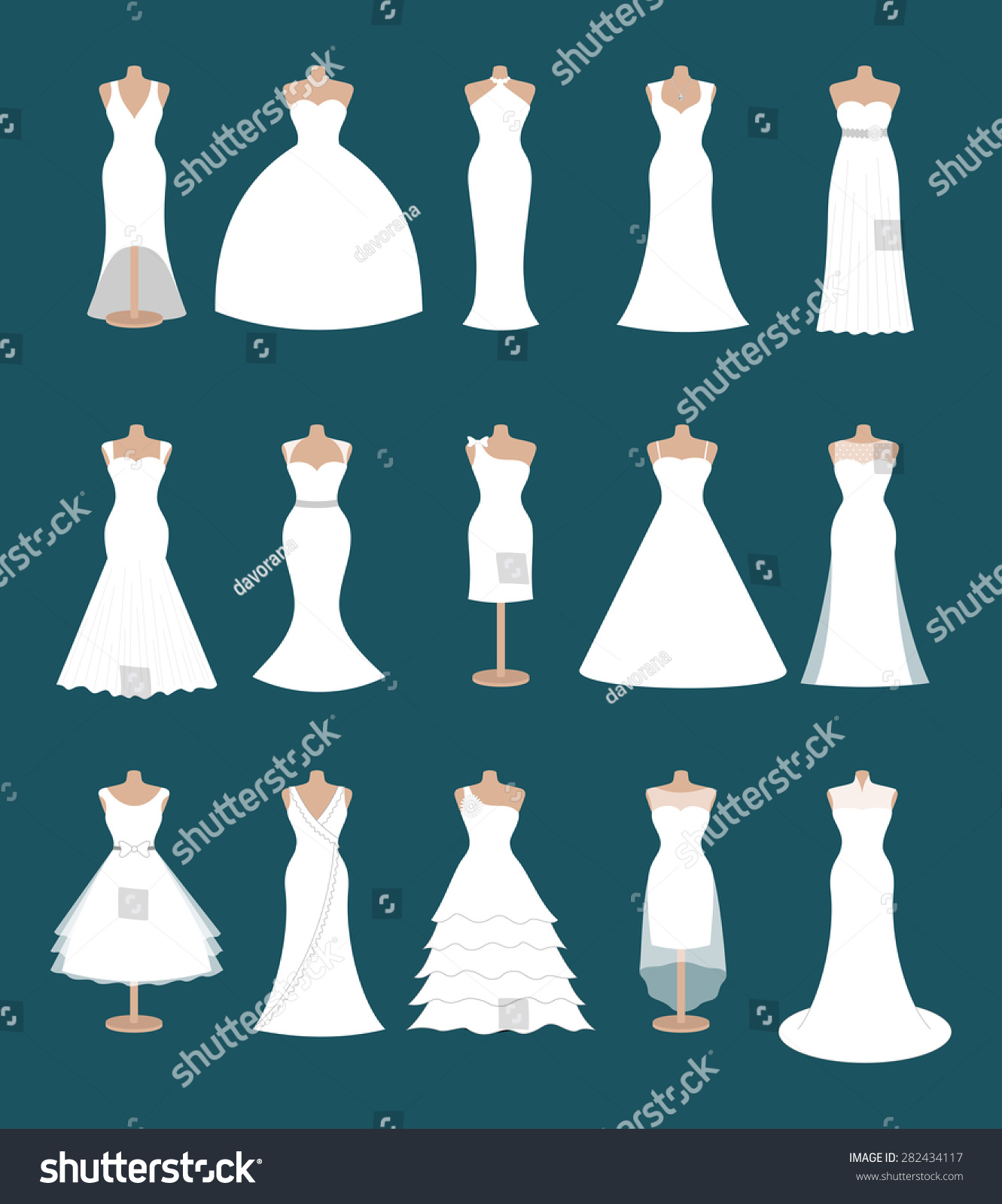 Set Different Styles Wedding Dresses Fashion Stock Vector Royalty