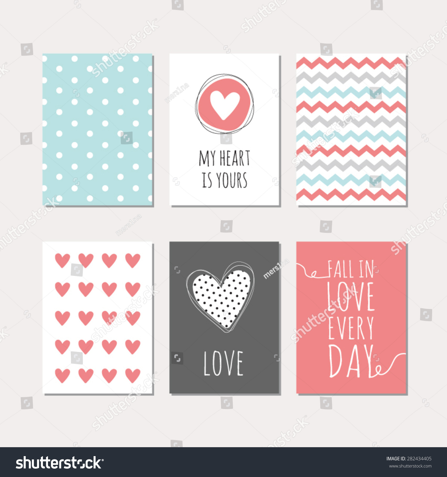 set cute creative cards love theme stock vector  set of cute creative cards love theme design vector design templates for greeting