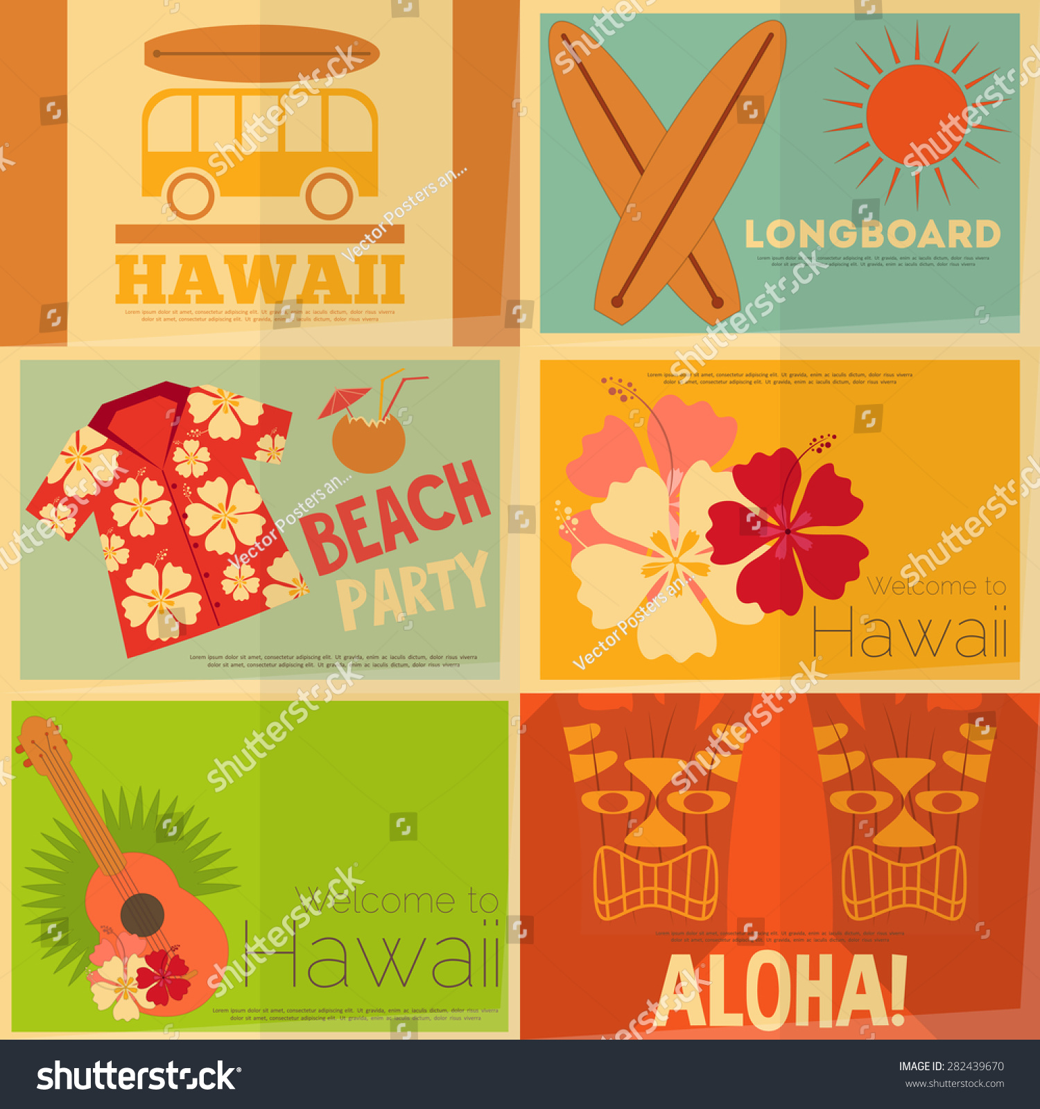 Hawaii Surf Retro Mini Posters Collection in Flat Design Style Layered file Vector Illustration