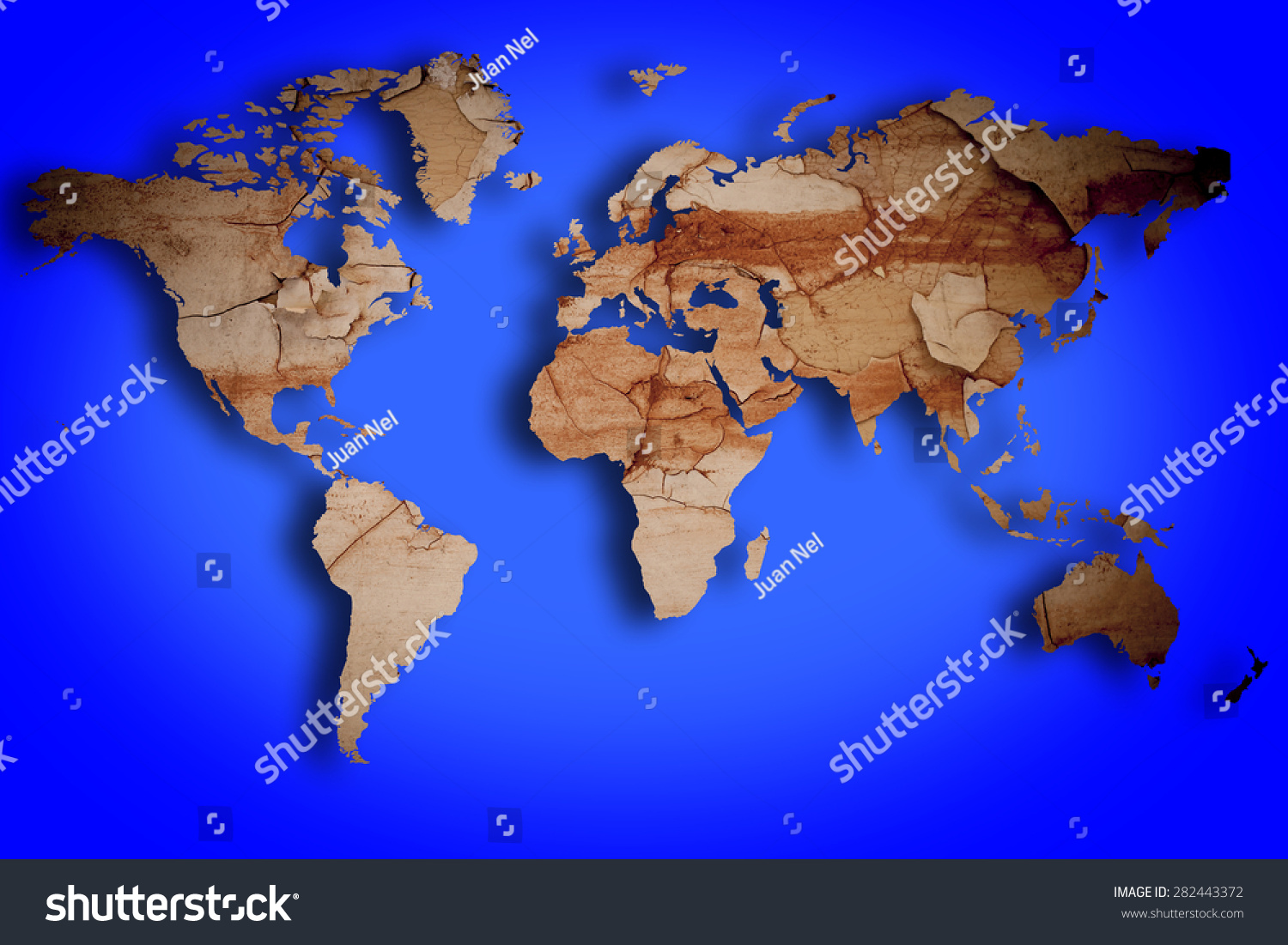 Grunge world map over blue background stock illustration 282443372 grunge world map over a blue background gumiabroncs Gallery