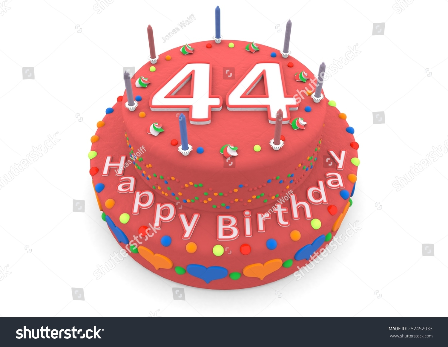 Red Birthday Cake Age Happy Birthday Stock Illustration 282452033