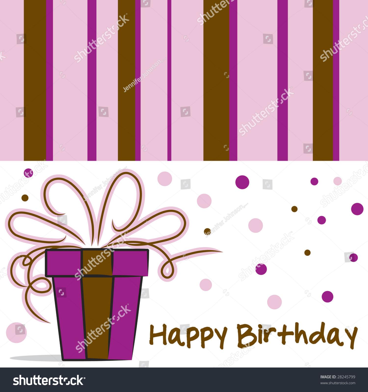 Happy Birthday Card Layout Feminine Colors Stock Illustration