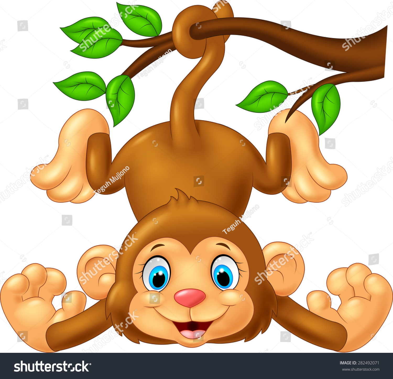 Cartoon Baby Monkey Hanging Cute On Tree Branch