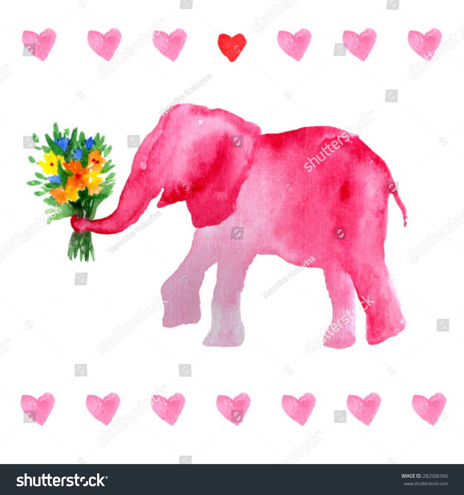 Elephant With Flowers. Romantic Pink Elephant. Valentineu0027s Postcard. Sweet  Animals. Watercolor Elephant