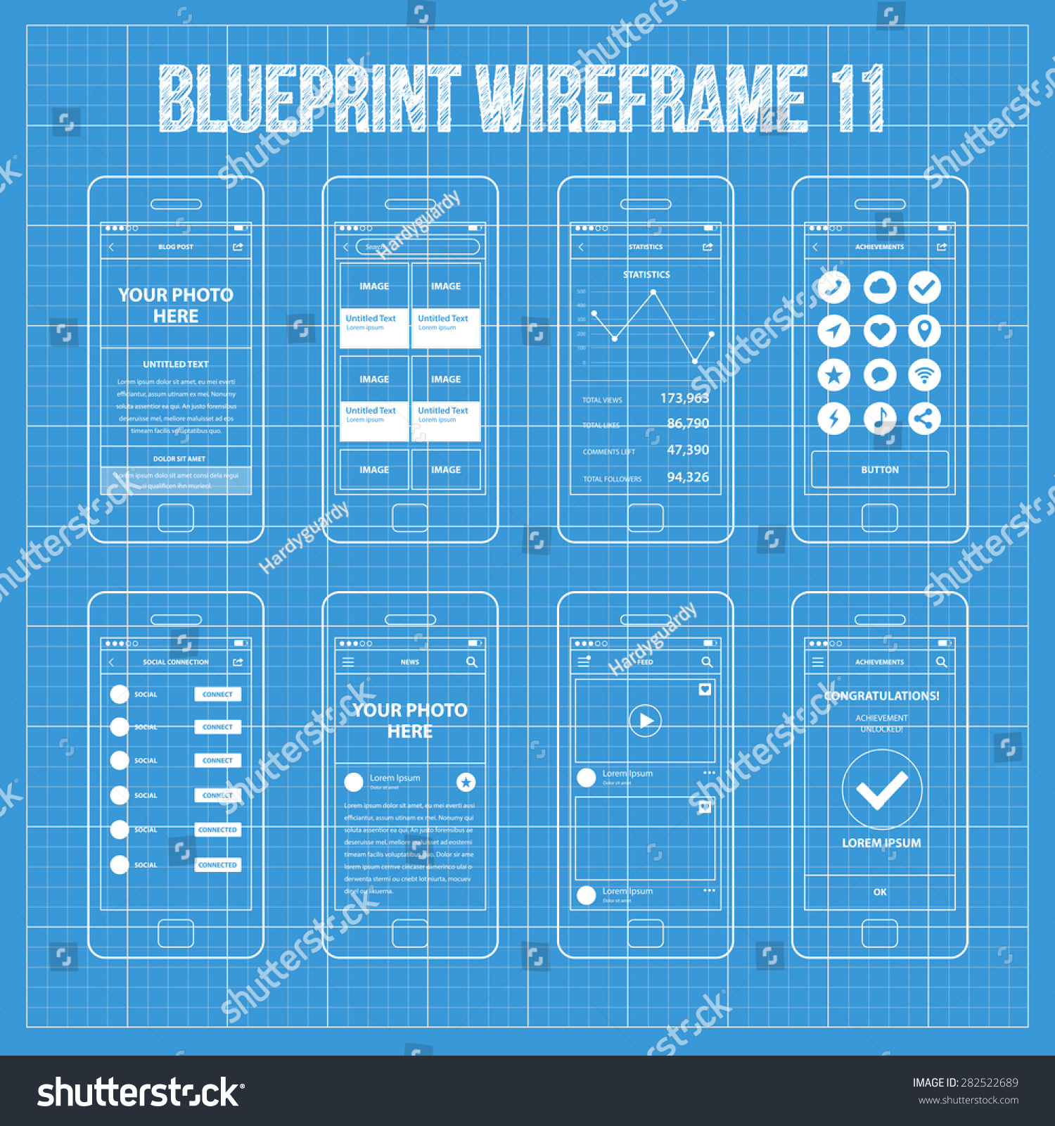 Mobile app wireframe ui kit 11 stock vector 282522689 shutterstock mobile app wireframe ui kit 11 blog post screen image gallery post screen malvernweather Images