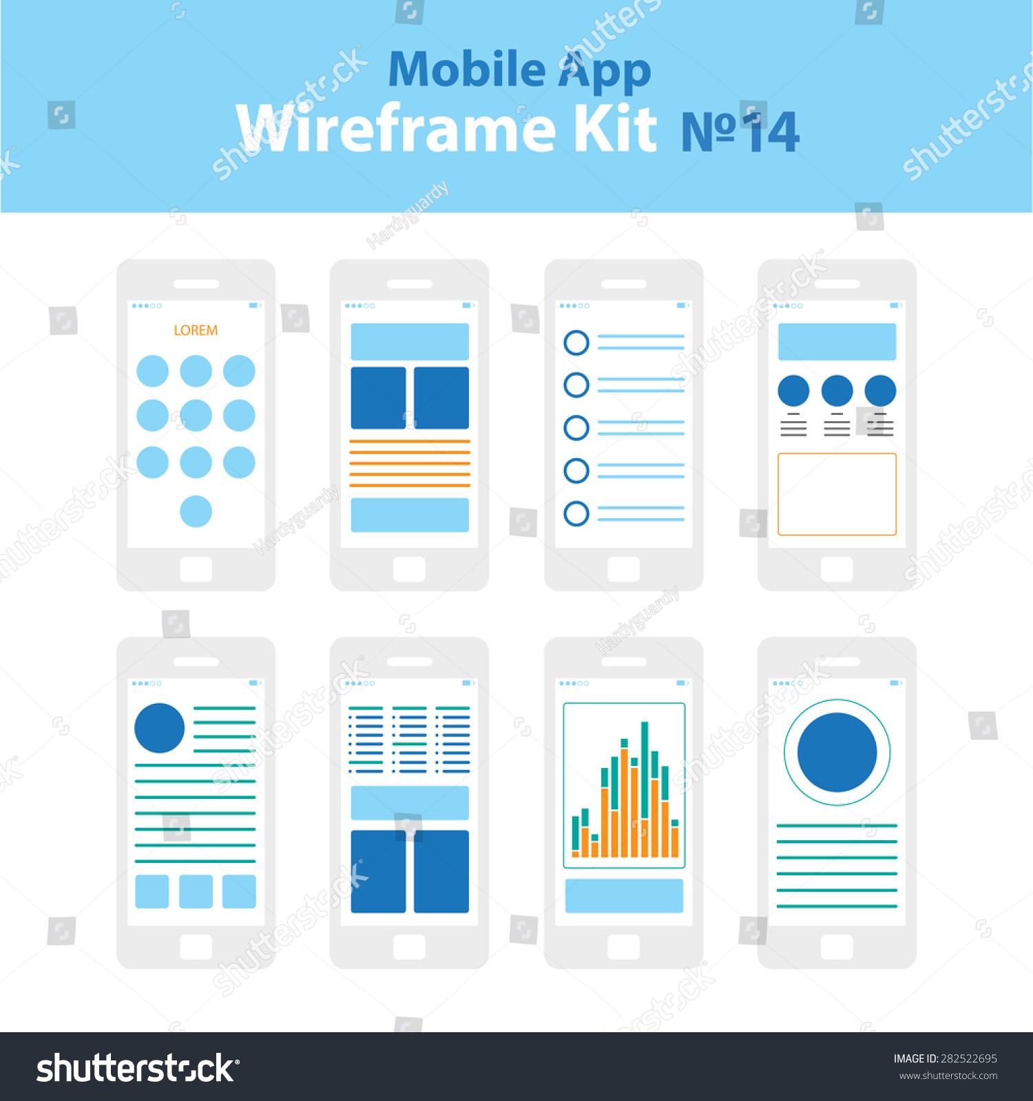 mobile app wireframe ui kit 14 stock vector 282522695 shutterstock. Black Bedroom Furniture Sets. Home Design Ideas