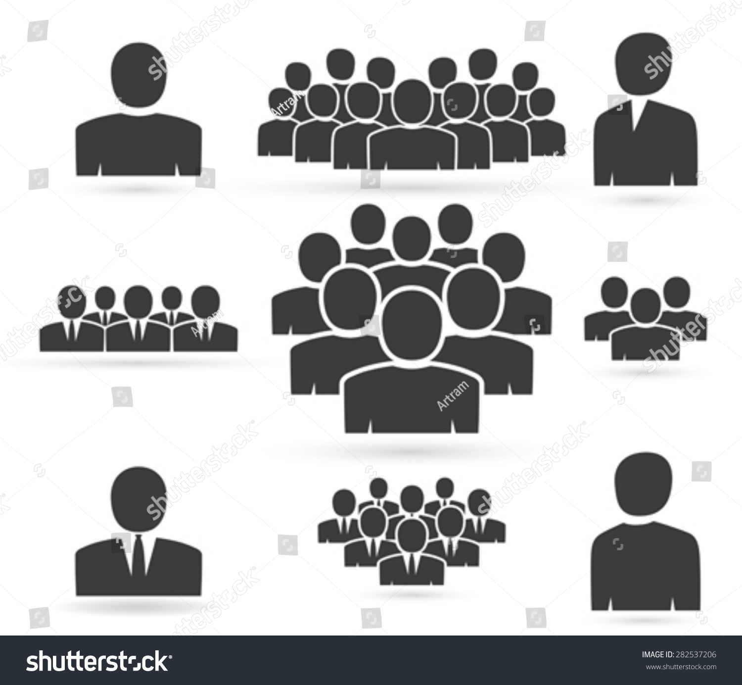 Crowd People Team Icon Silhouettes Stock Vector 282537206 ...