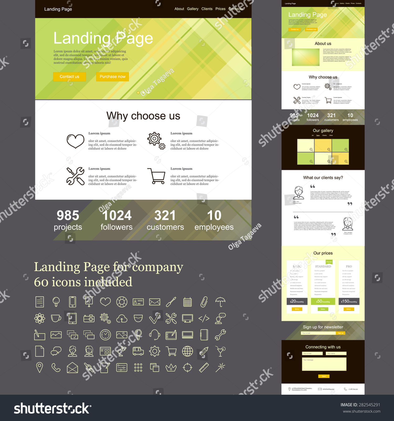 Landing page template for company, one page web site with set of ...