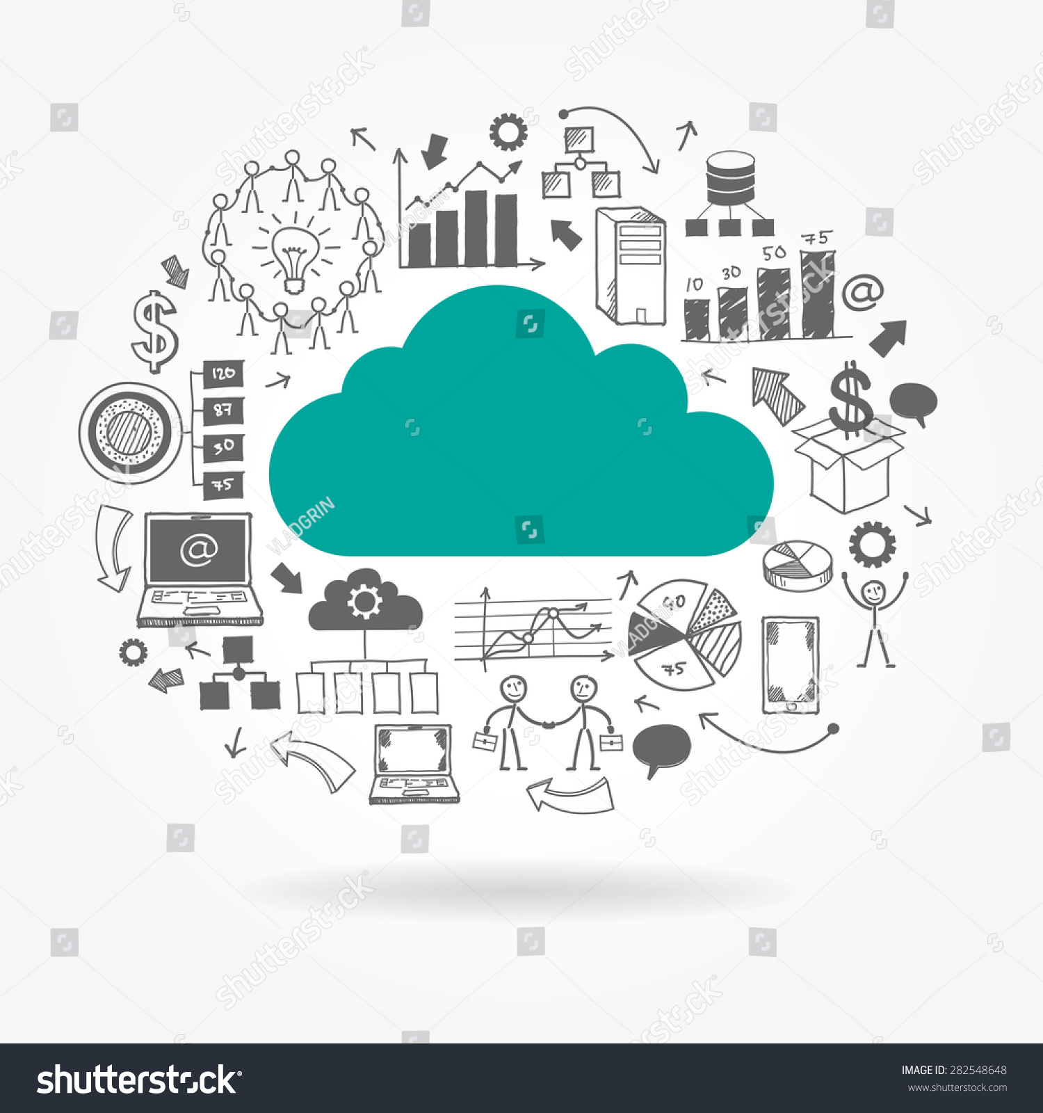 Flat Cloud Surrounded Doodle Business Icons Stock Vector 282548648 ...