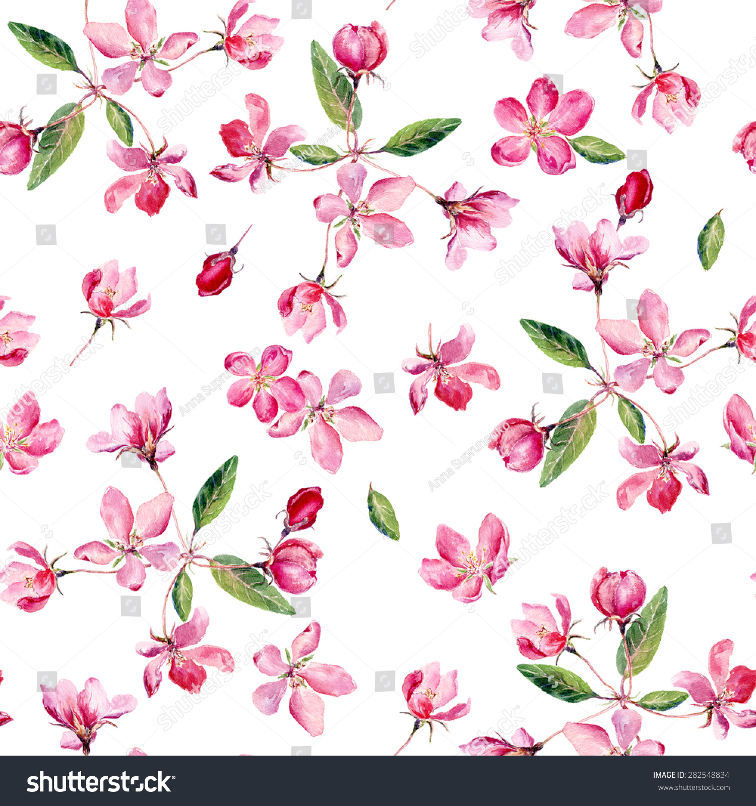 Pink Tree Wall Sticker Apple Blossom Watercolor Seamless Pattern Beautiful Stock