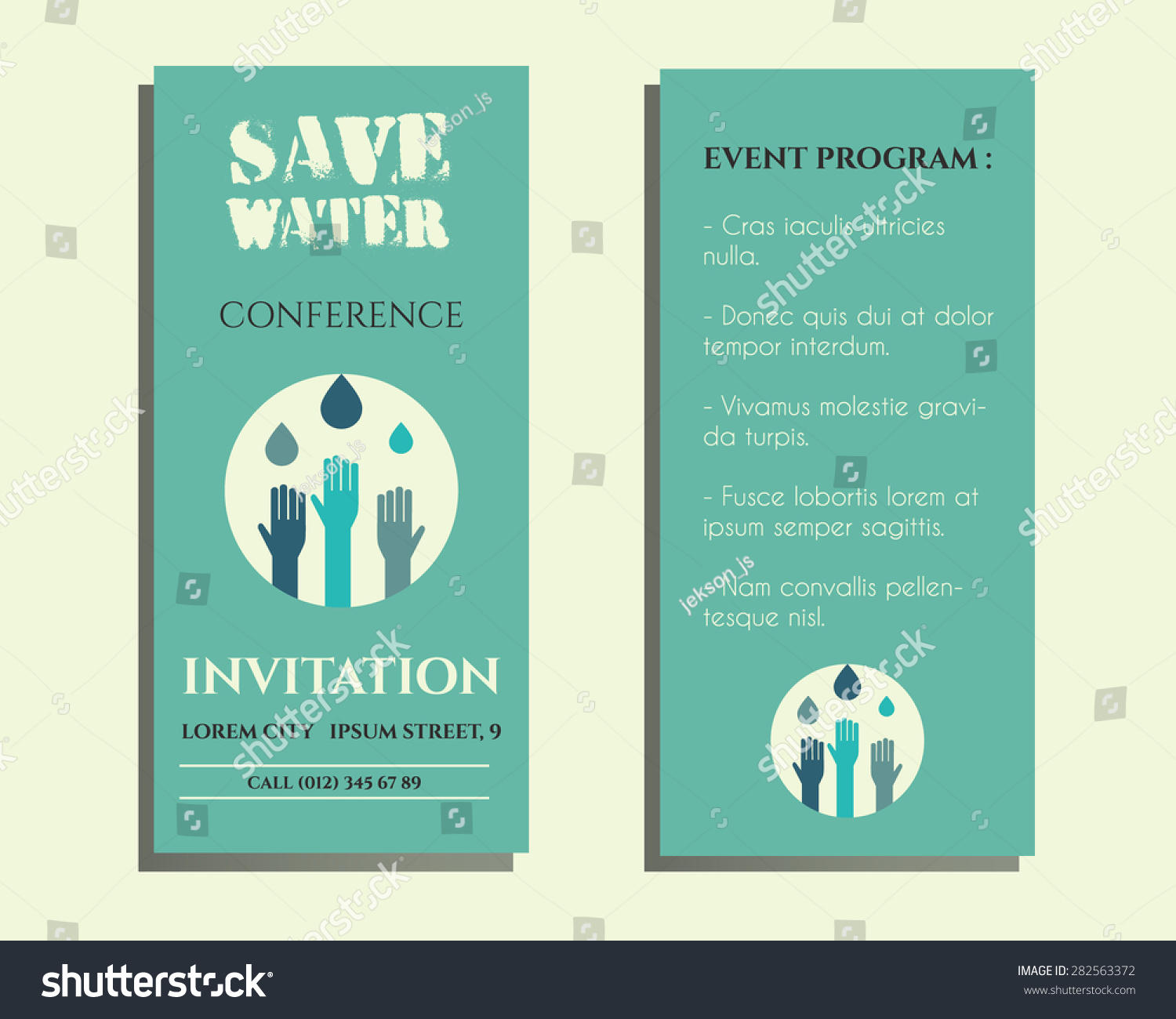 Save water conference flyer invitation template stock photo photo save water conference flyer invitation template with drops and hands logo template isolated on bright stopboris Choice Image