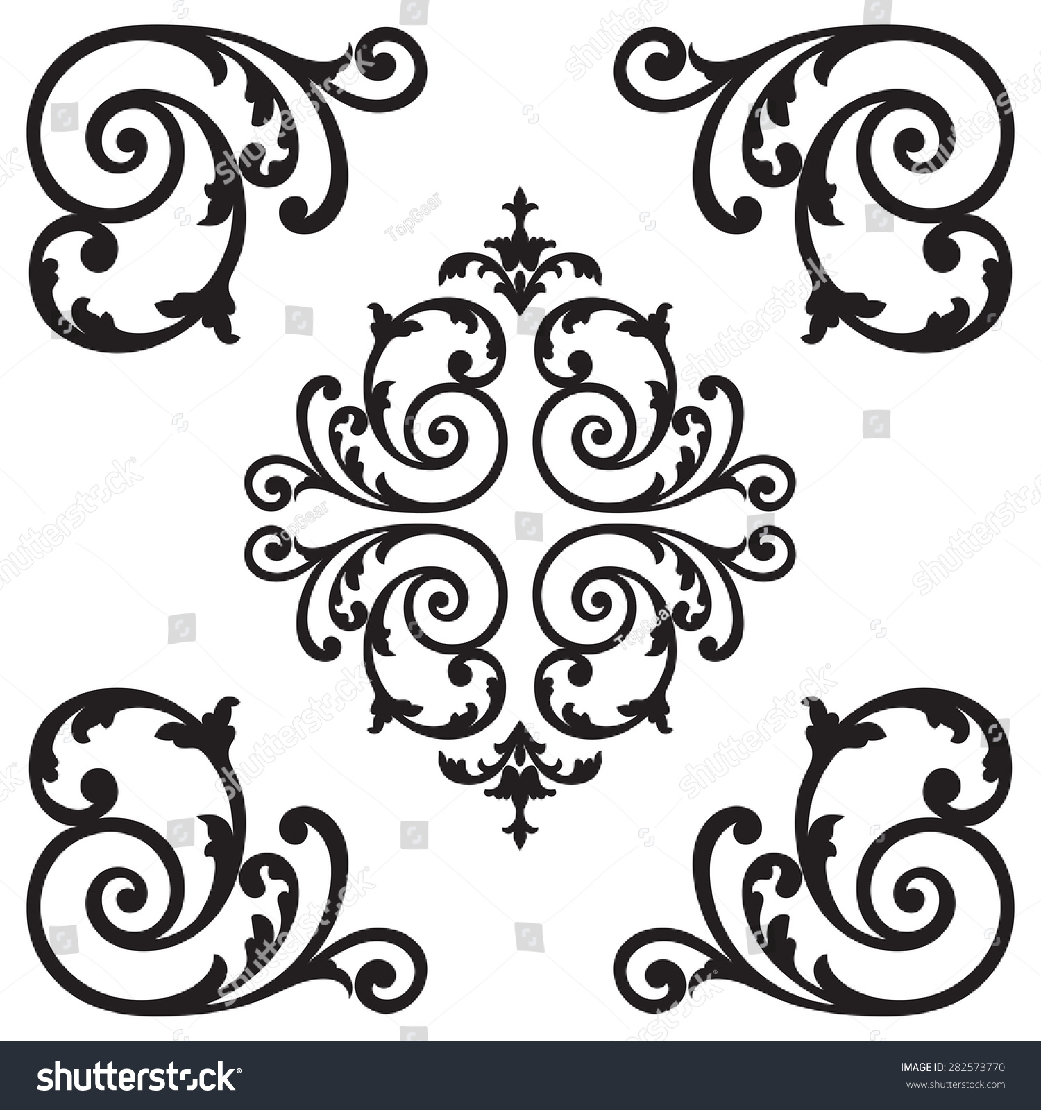 Decorative Black Flower Border Stock Image: Page Decoration Decorative Floral Elements Corners Stock